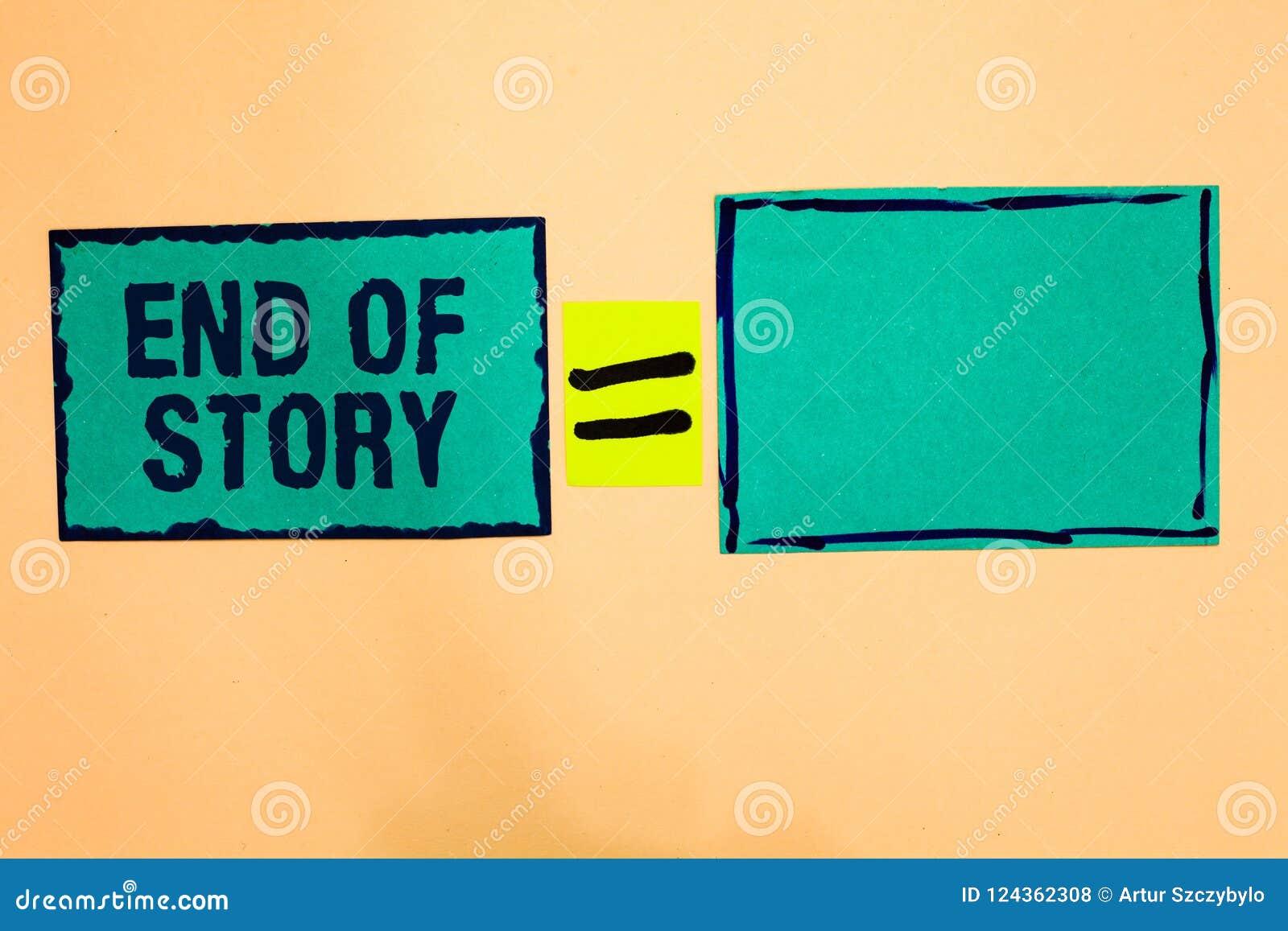 Muestra del texto que muestra el final de la historia La foto conceptual acentúa que nada añadir notas del papel de la turquesa d