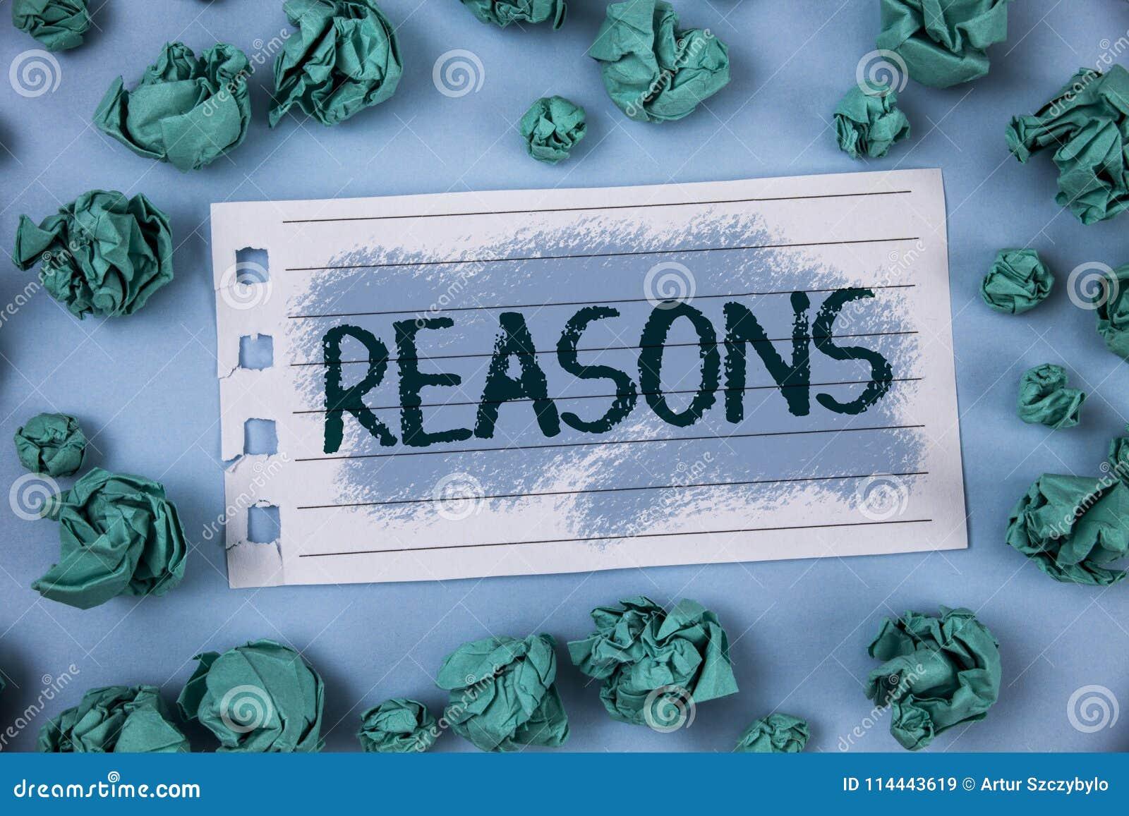 Muestra del texto que muestra razones La foto conceptual causa las justificaciones de las explicaciones para una motivación de la