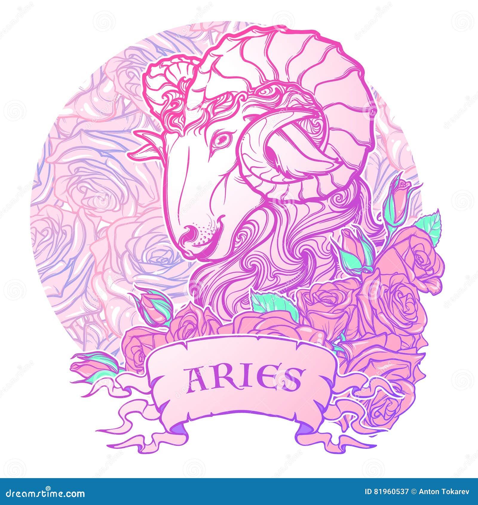 Muestra del zodiaco del aries con un arte decorativo del concepto de la astrología de las rosas del marco Tatuaje Design