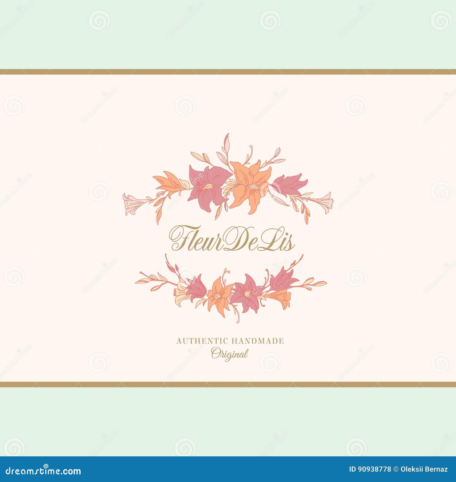 Muestra, emblema o Logo Template abstracto del vector de los lirios La mano dibujada florece el marco con tipografía retra y la o