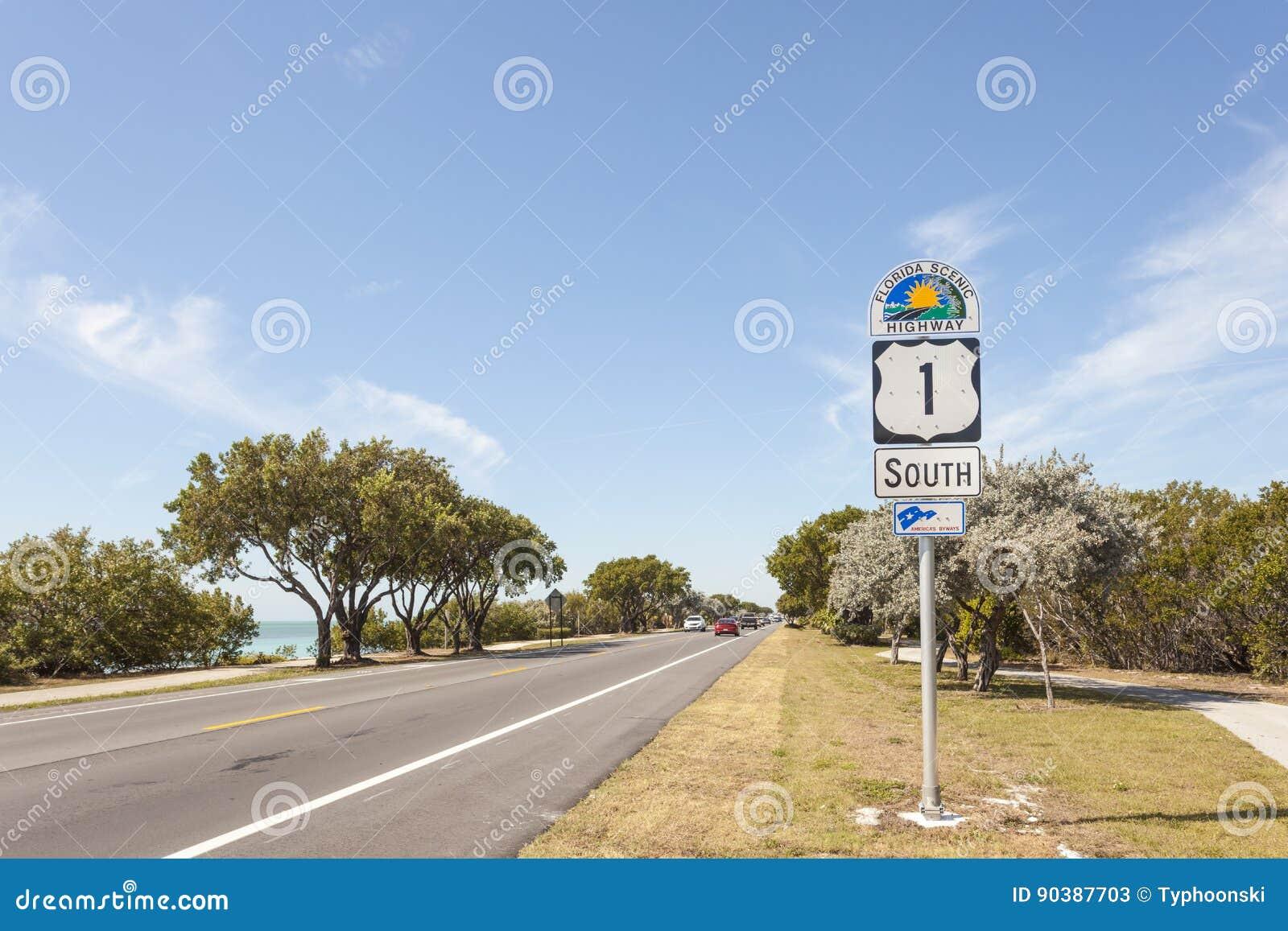 Muestra escénica de la carretera de la Florida