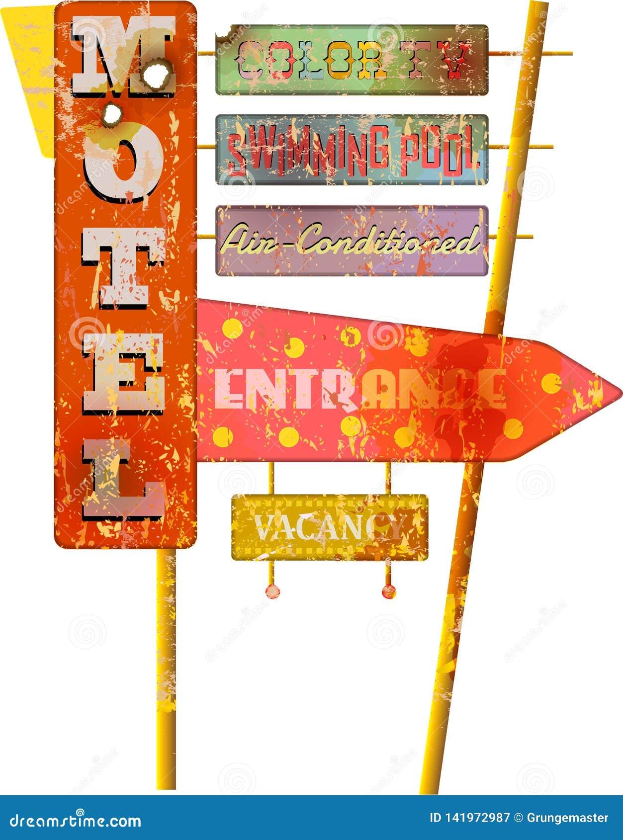 Muestra estupenda retra del motel de la ruta 66 del grunge, vector