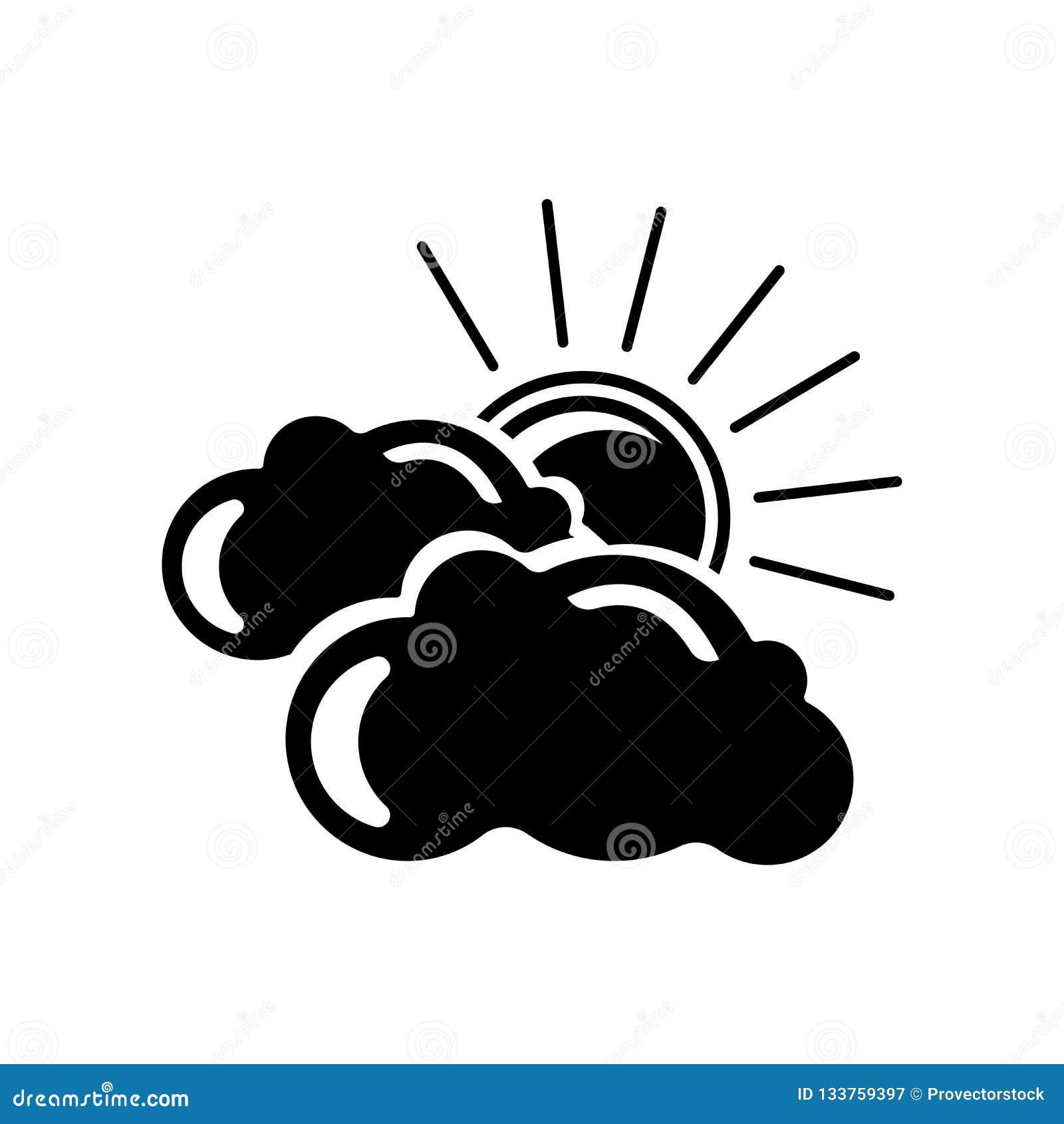 Muestra nublada y símbolo del vector del icono de la noche aislados en el backg blanco