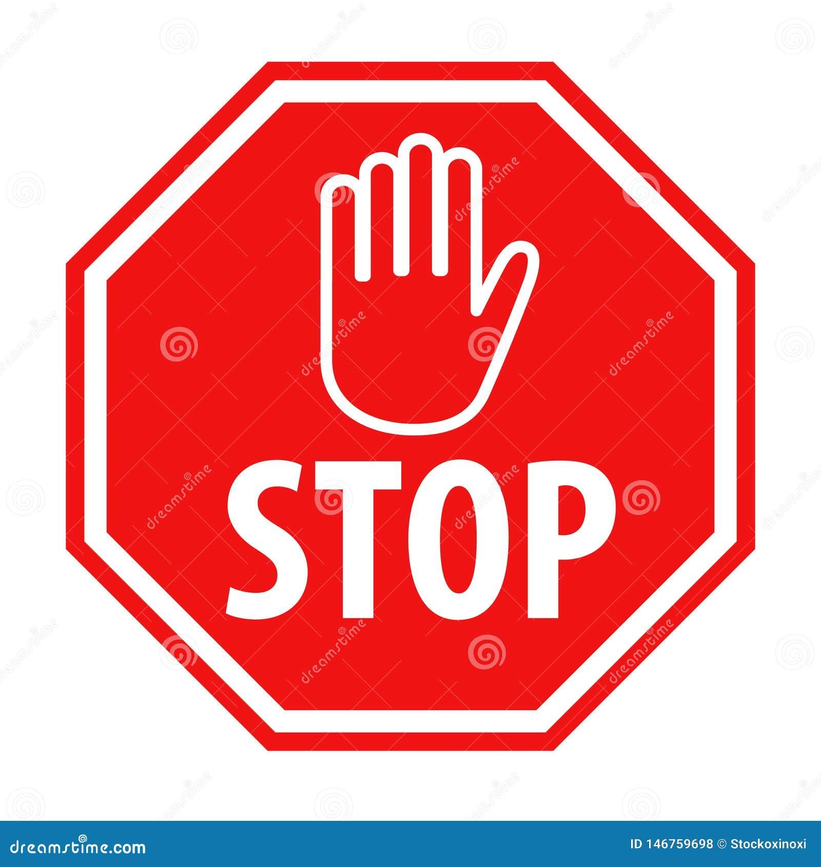 Muestra roja de la parada con el ejemplo del vector del icono del símbolo de la mano