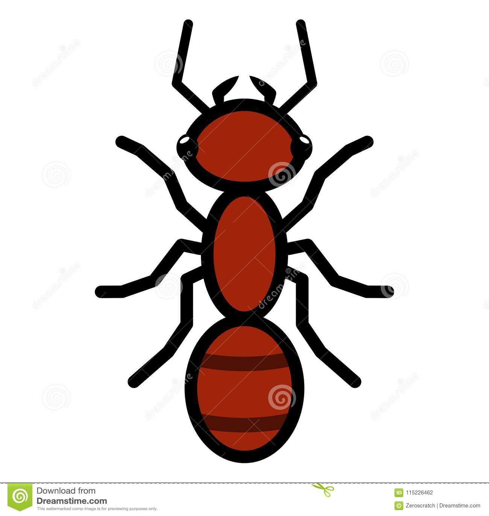 Muestra roja del icono del símbolo del logotipo de la hormiga