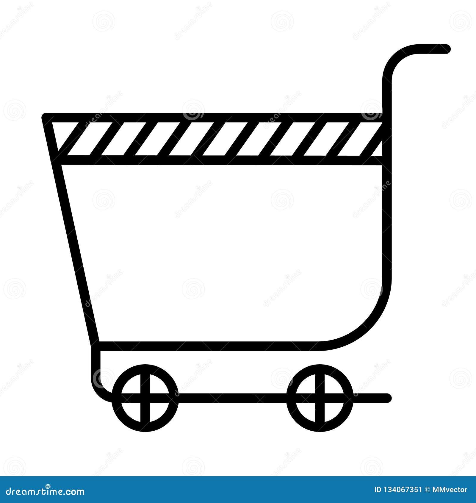 Muestra y símbolo del vector del icono del carro de la compra del supermercado aislados en el fondo blanco, concepto del logotipo