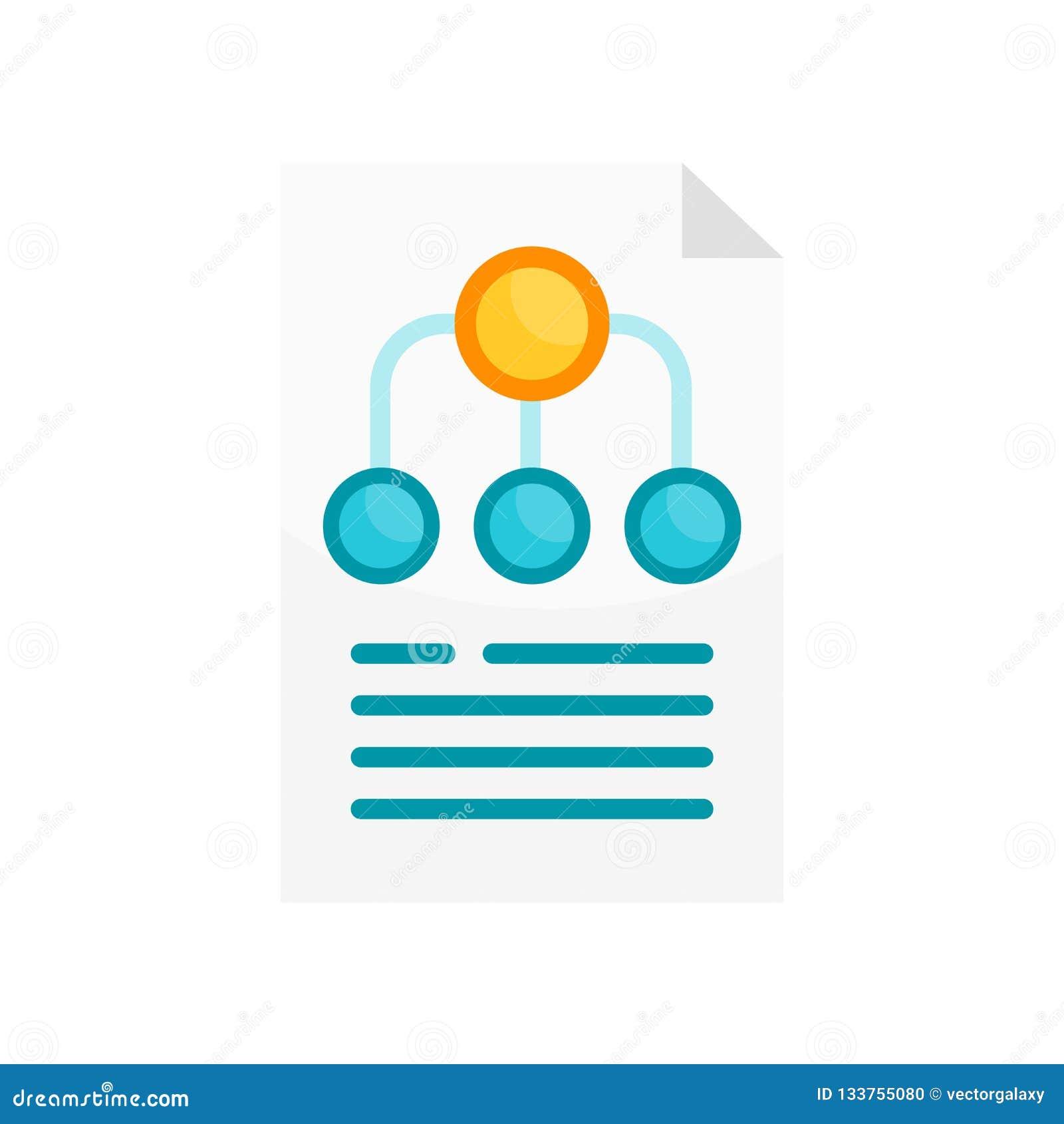 Muestra y símbolo del vector del icono de la estructura de la jerarquía aislados en pizca