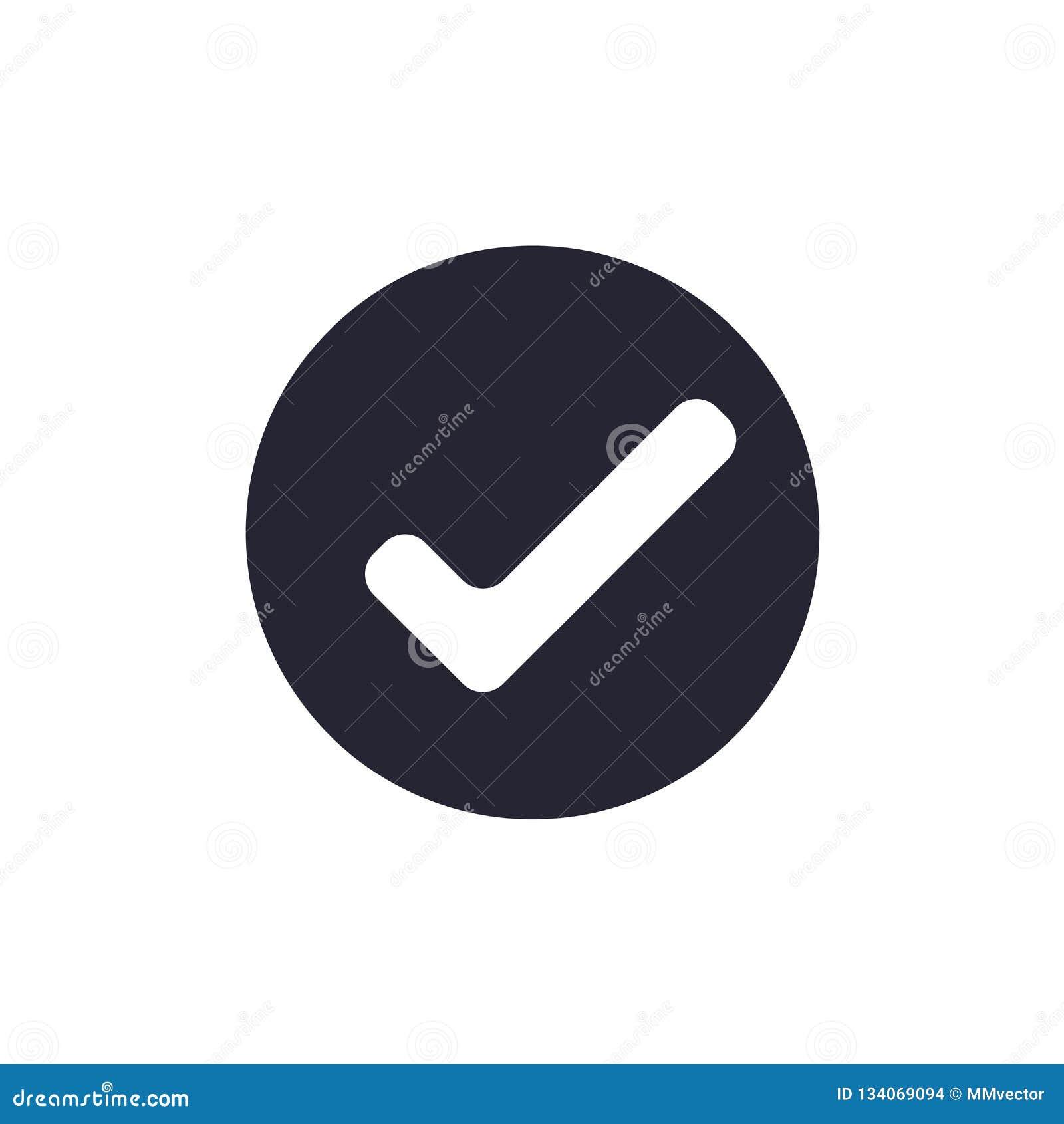 Muestra y símbolo del vector del icono de la marca de verificación aislados en el fondo blanco, concepto del logotipo de la marca