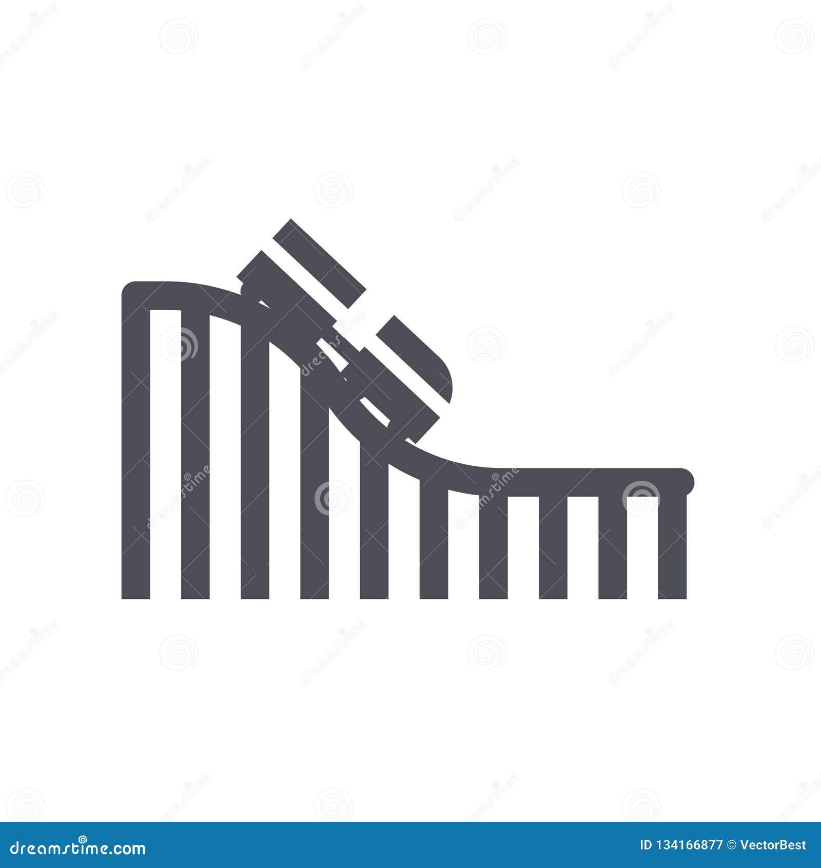 Muestra y símbolo del vector del icono de la montaña rusa aislados en el fondo blanco, concepto del logotipo de la montaña rusa