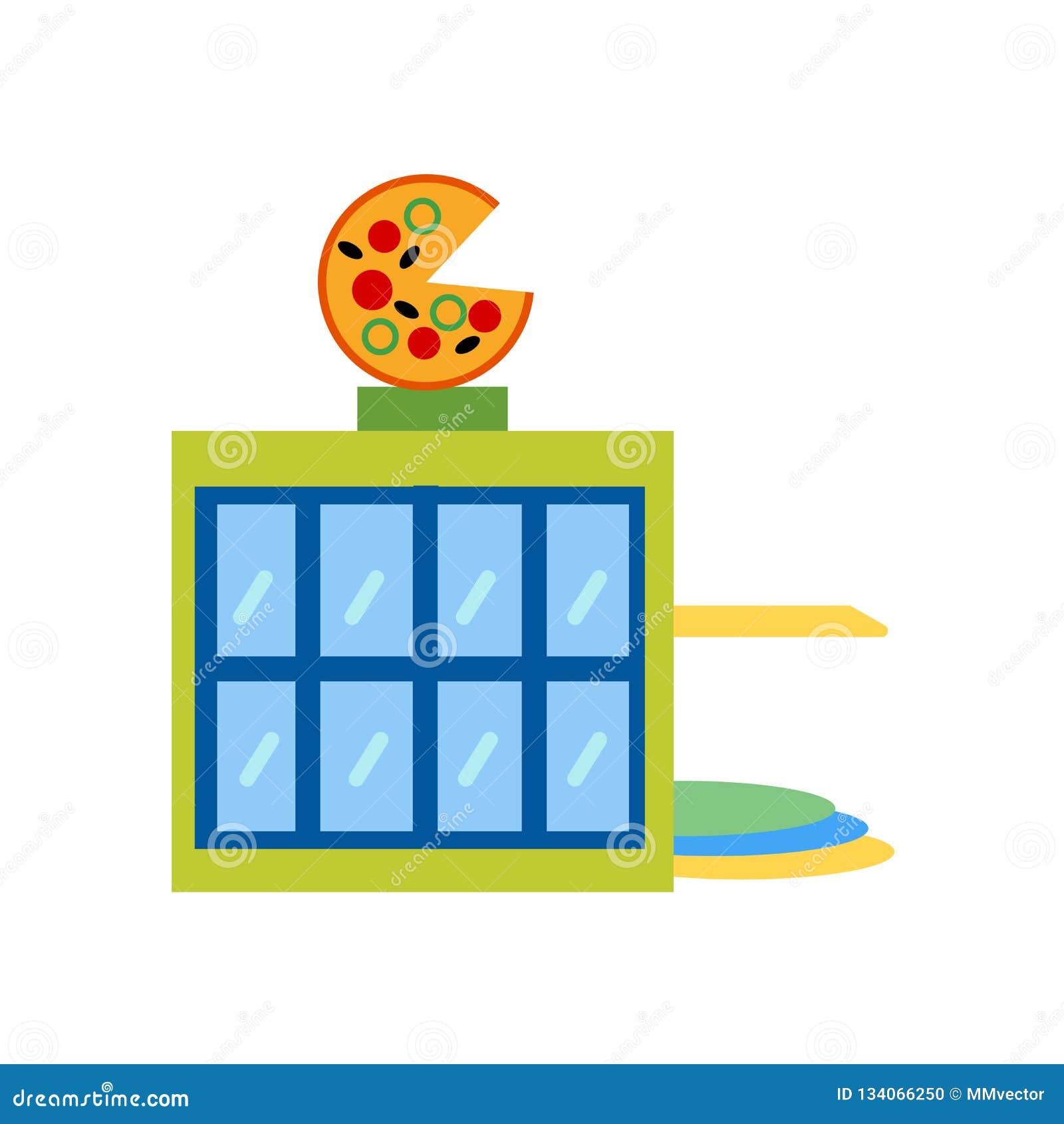 Muestra y símbolo del vector del icono de la pizzería aislados en el fondo blanco, concepto del logotipo de la pizzería