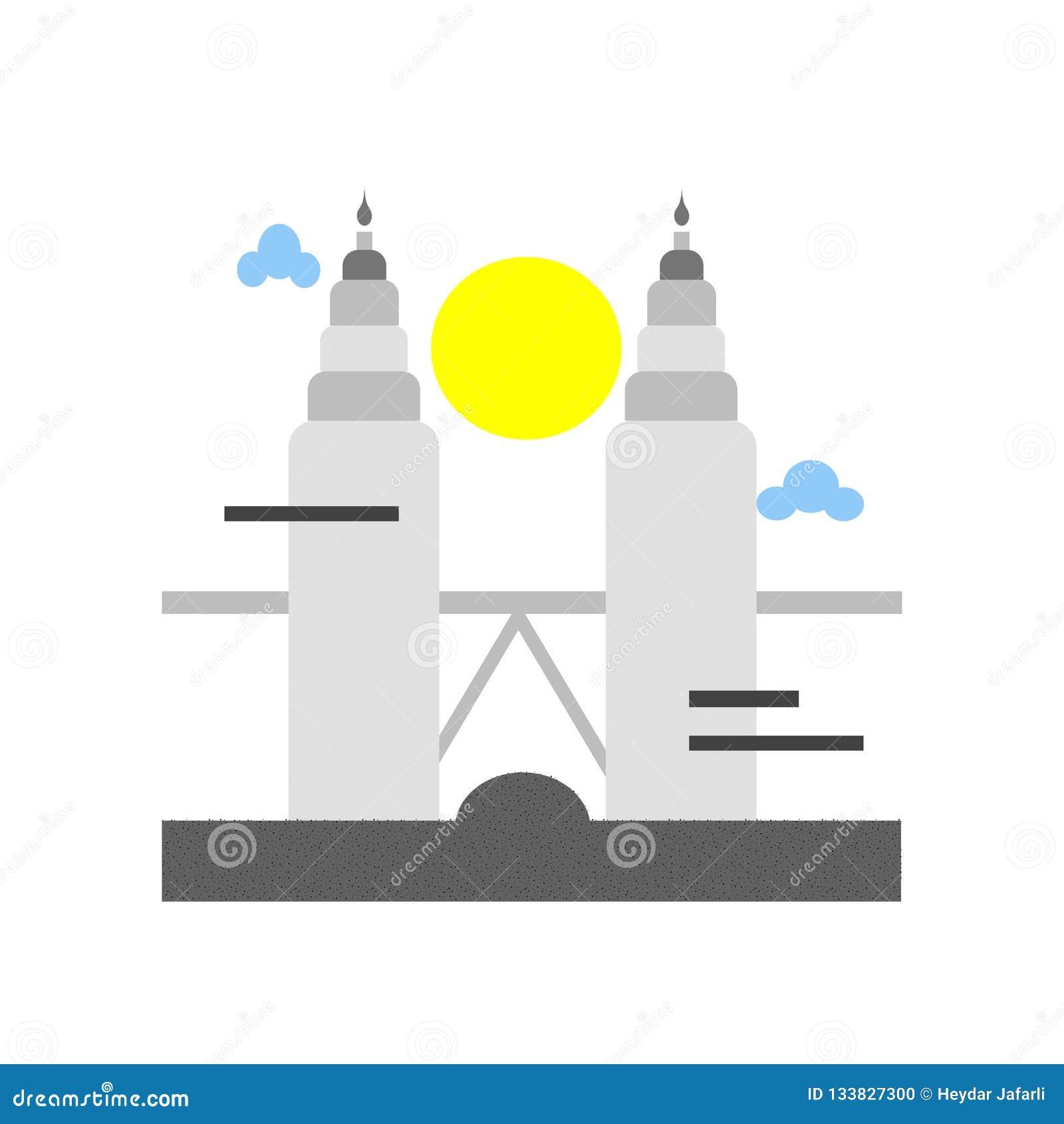 Muestra y símbolo del vector del icono de las torres de Petronas aislados en los vagos blancos