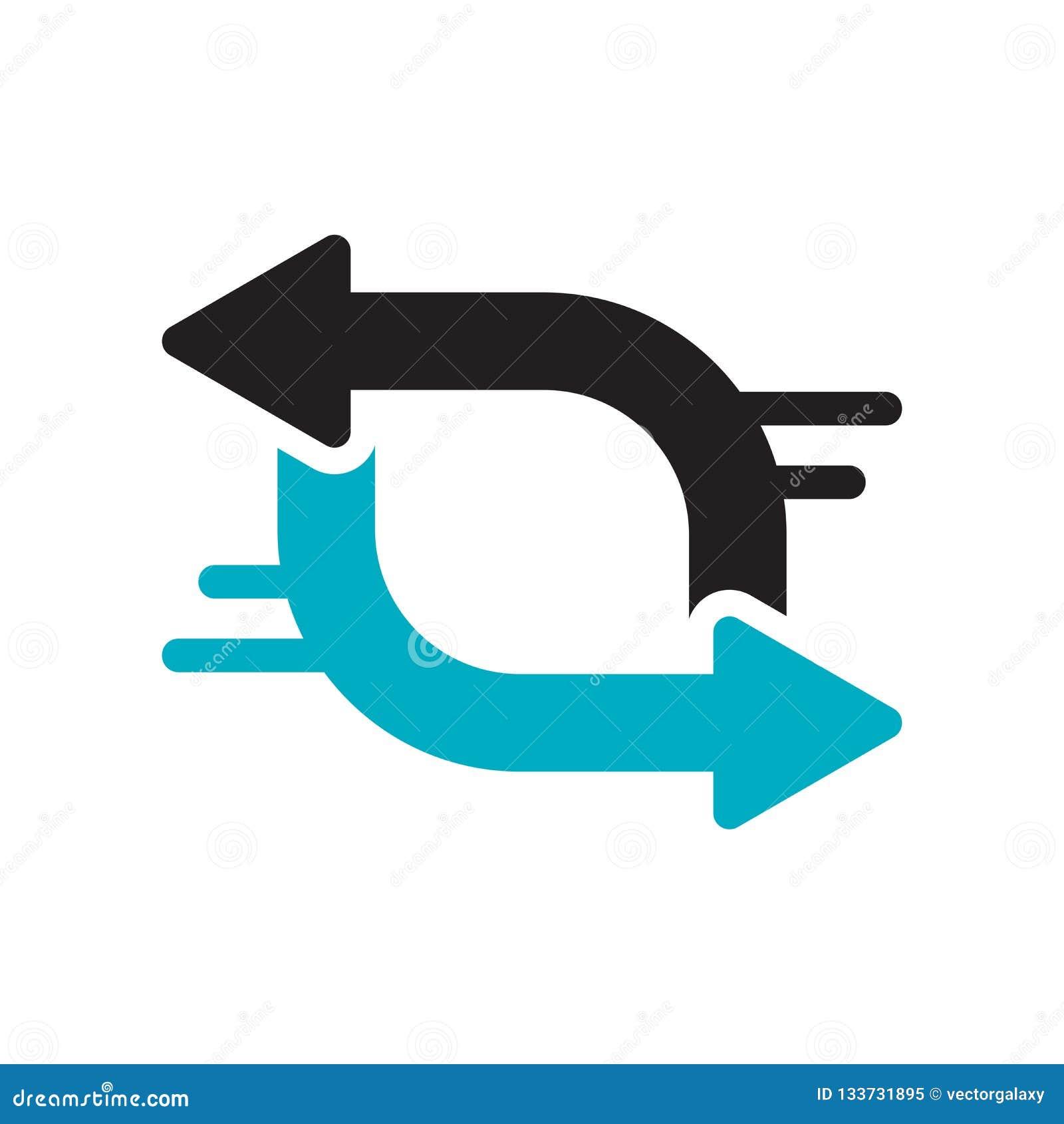 Muestra y símbolo del vector del icono del intercambio aislados en el fondo blanco, concepto del logotipo del intercambio