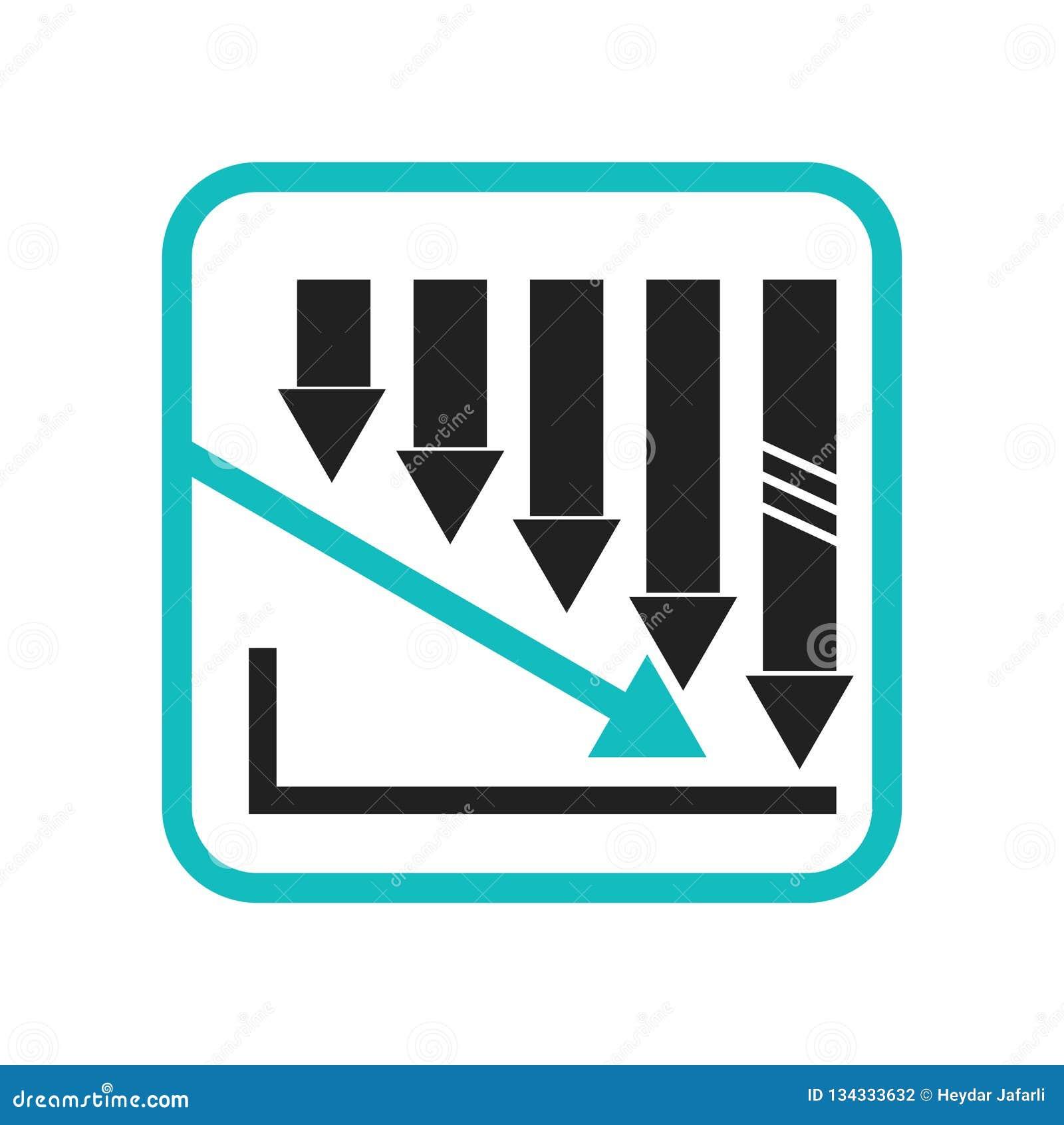 Muestra y símbolo gráficos de disminución del vector del icono de las barras de la acción aislados en el fondo blanco, logotipo g