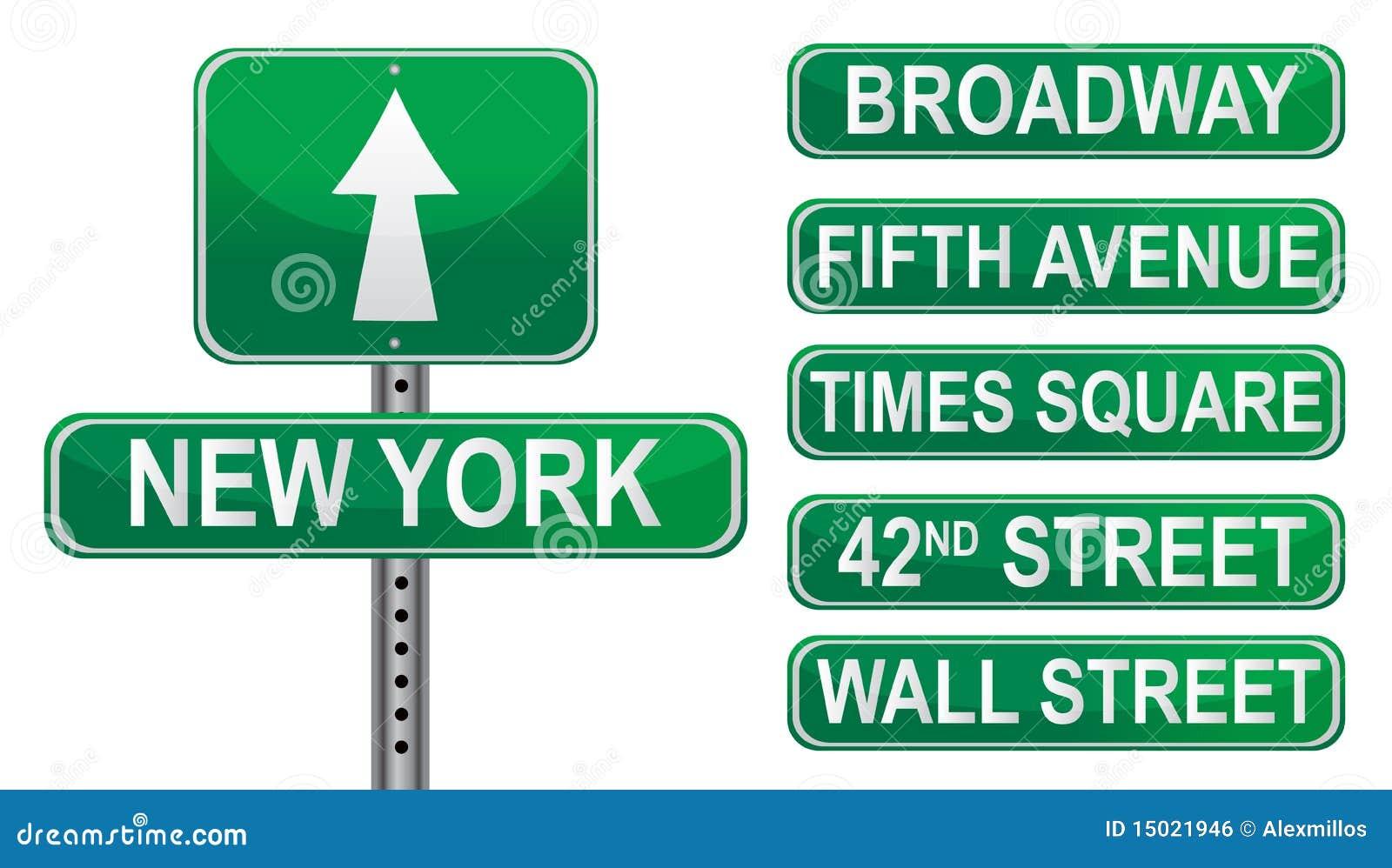 Muestras de calle de Nueva York