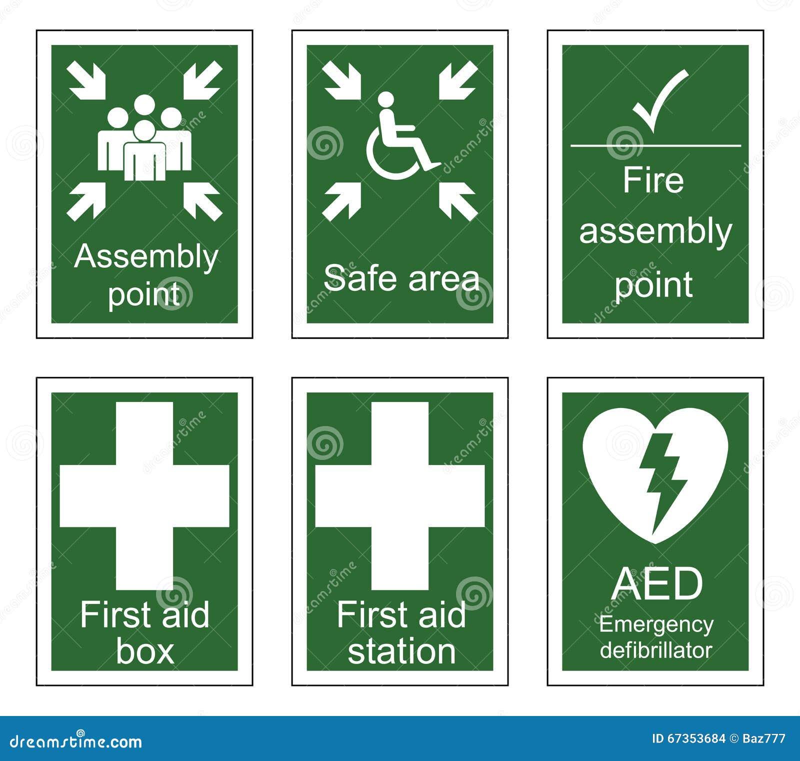 Muestras de los primeros auxilios y de la asamblea