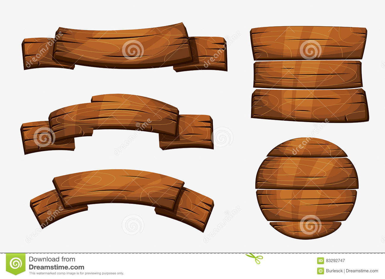 Muestras de madera del tablón de la historieta Elementos de madera del vector de la bandera en el fondo blanco