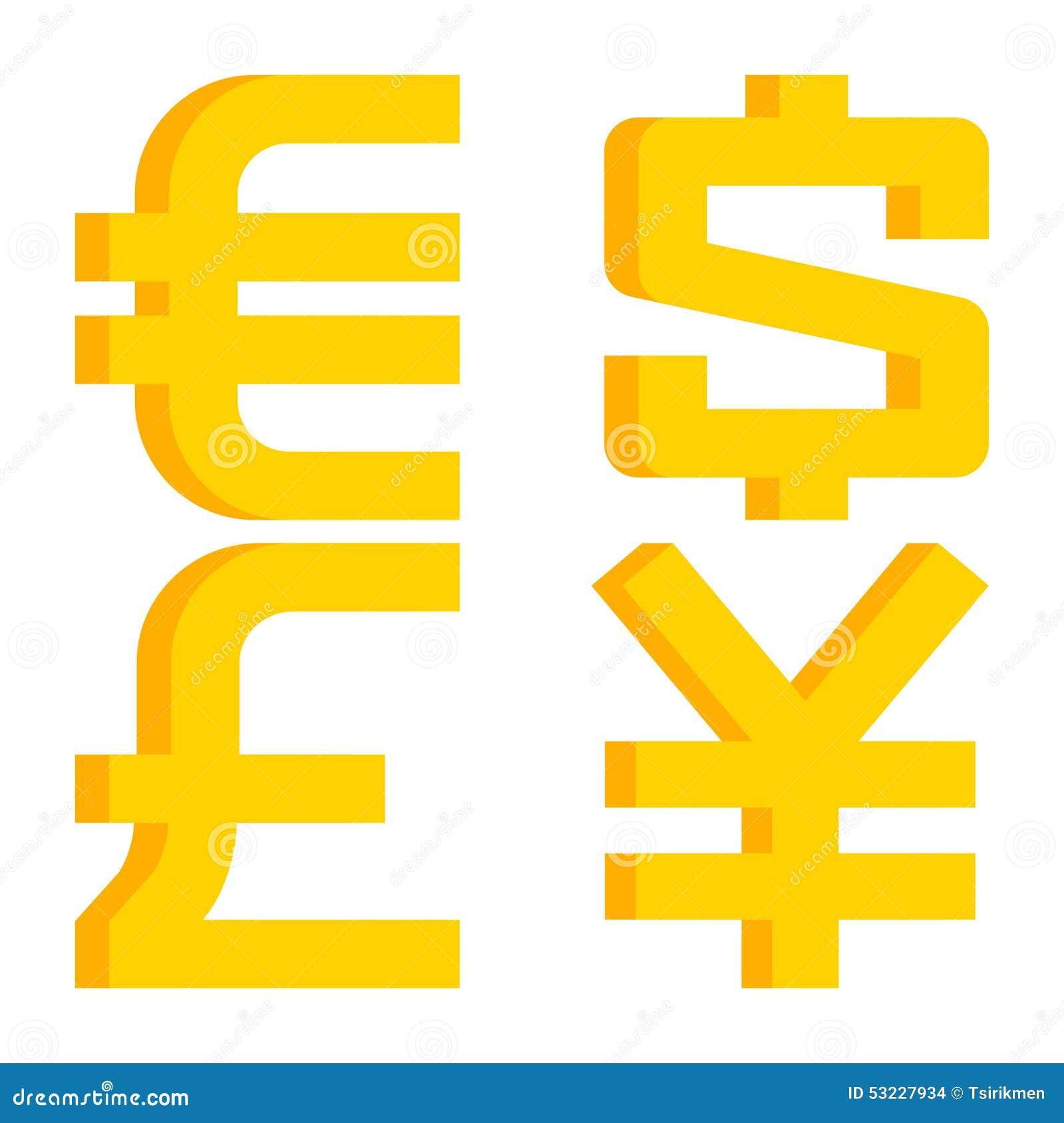 Muestras de moneda euro, dólar, libra esterlina, yen