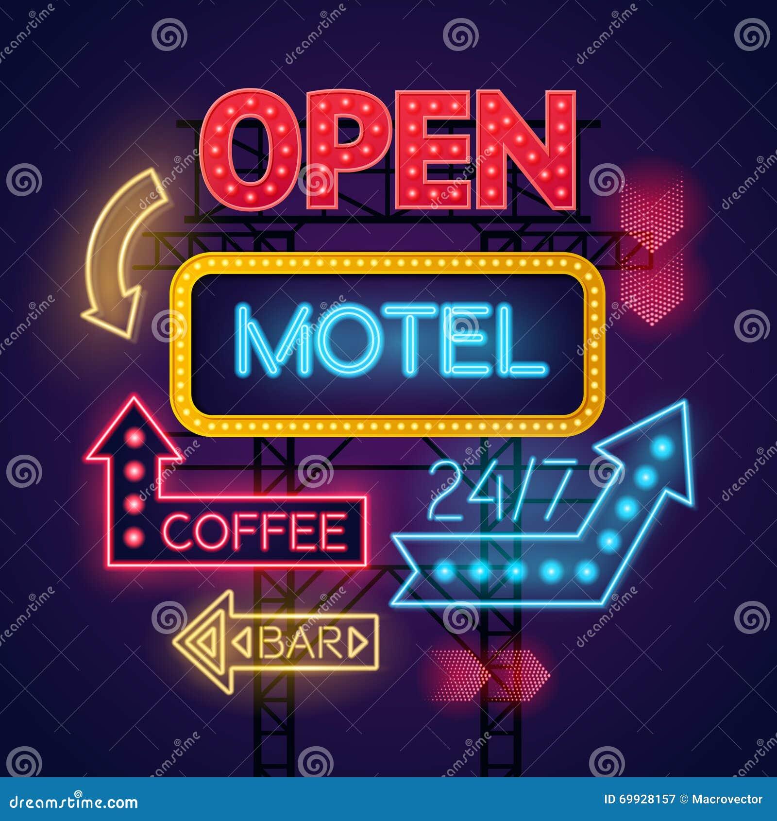 Muestras de neón del café y de la barra del motel fijadas