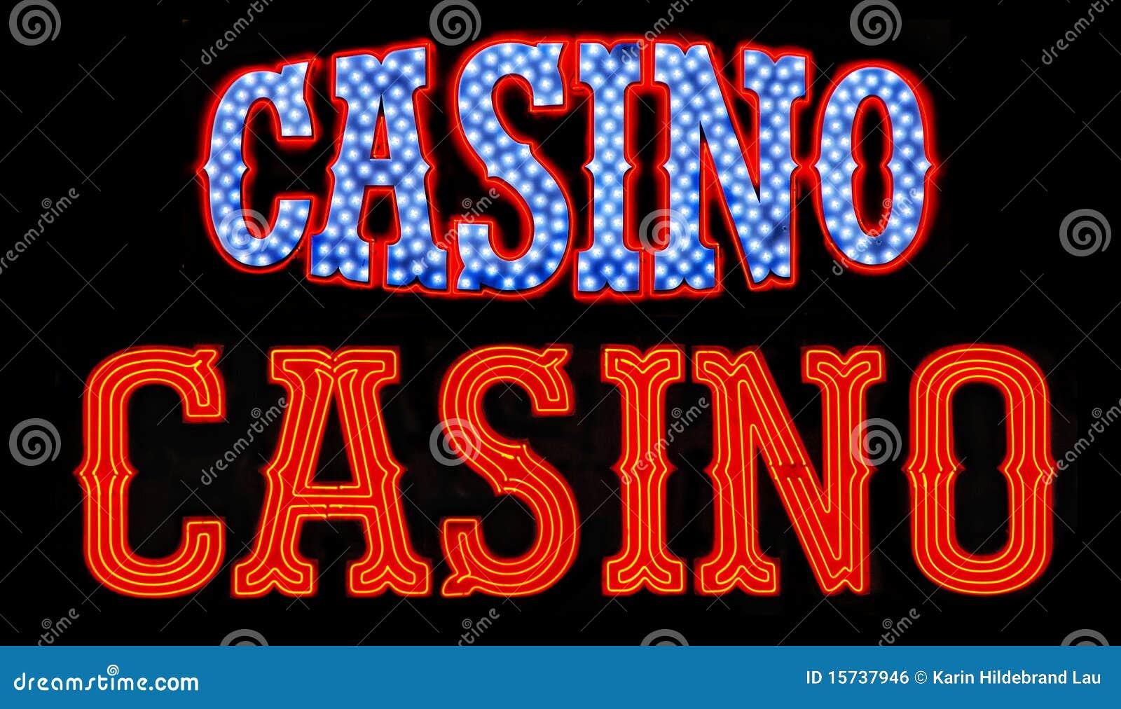 Muestras de neón del casino