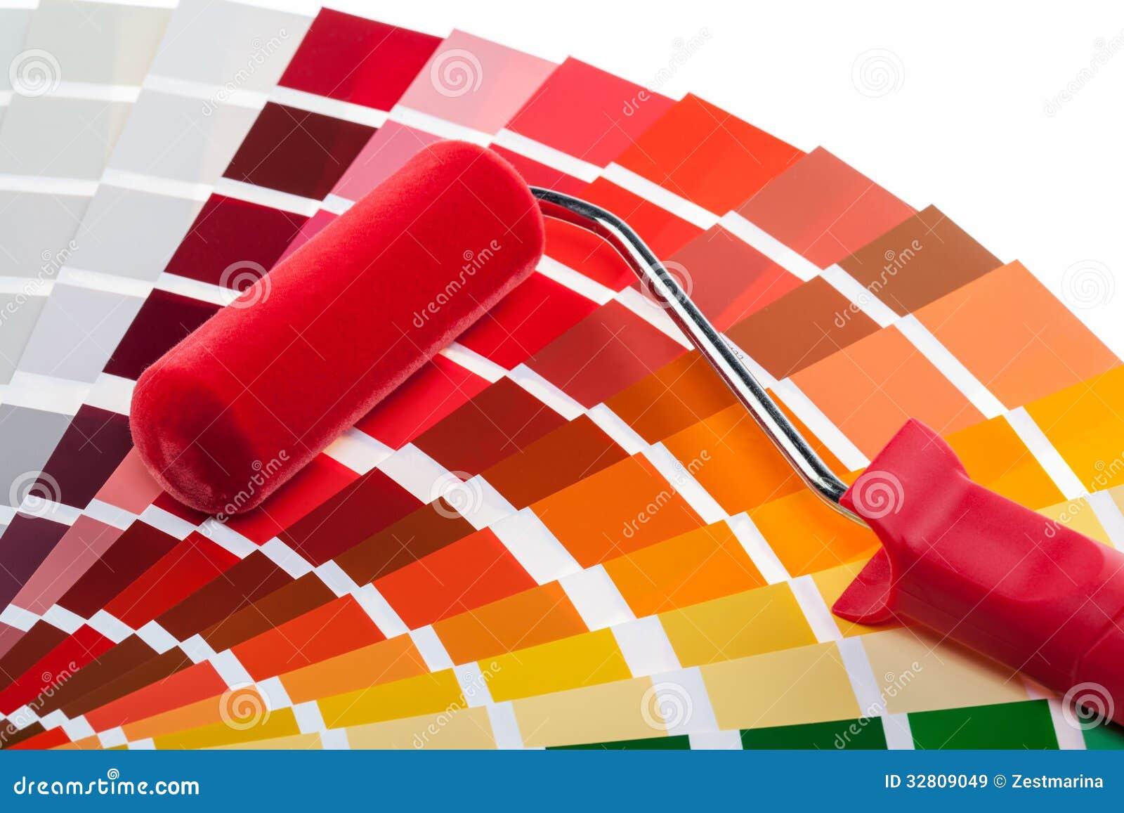 Muestras del rodillo y del color de pintura im genes de for Muestra colores pintura pared