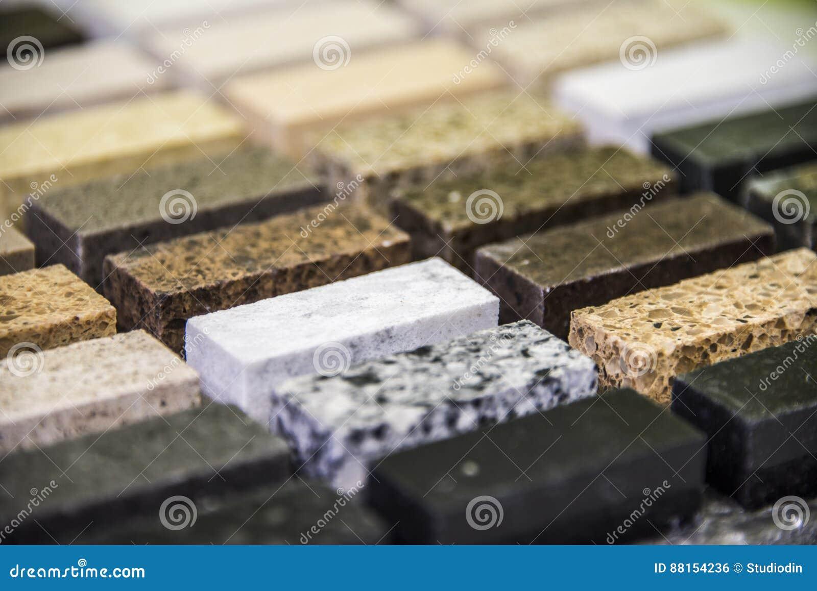 muestras interiores del color de la encimera del granito de la cocina