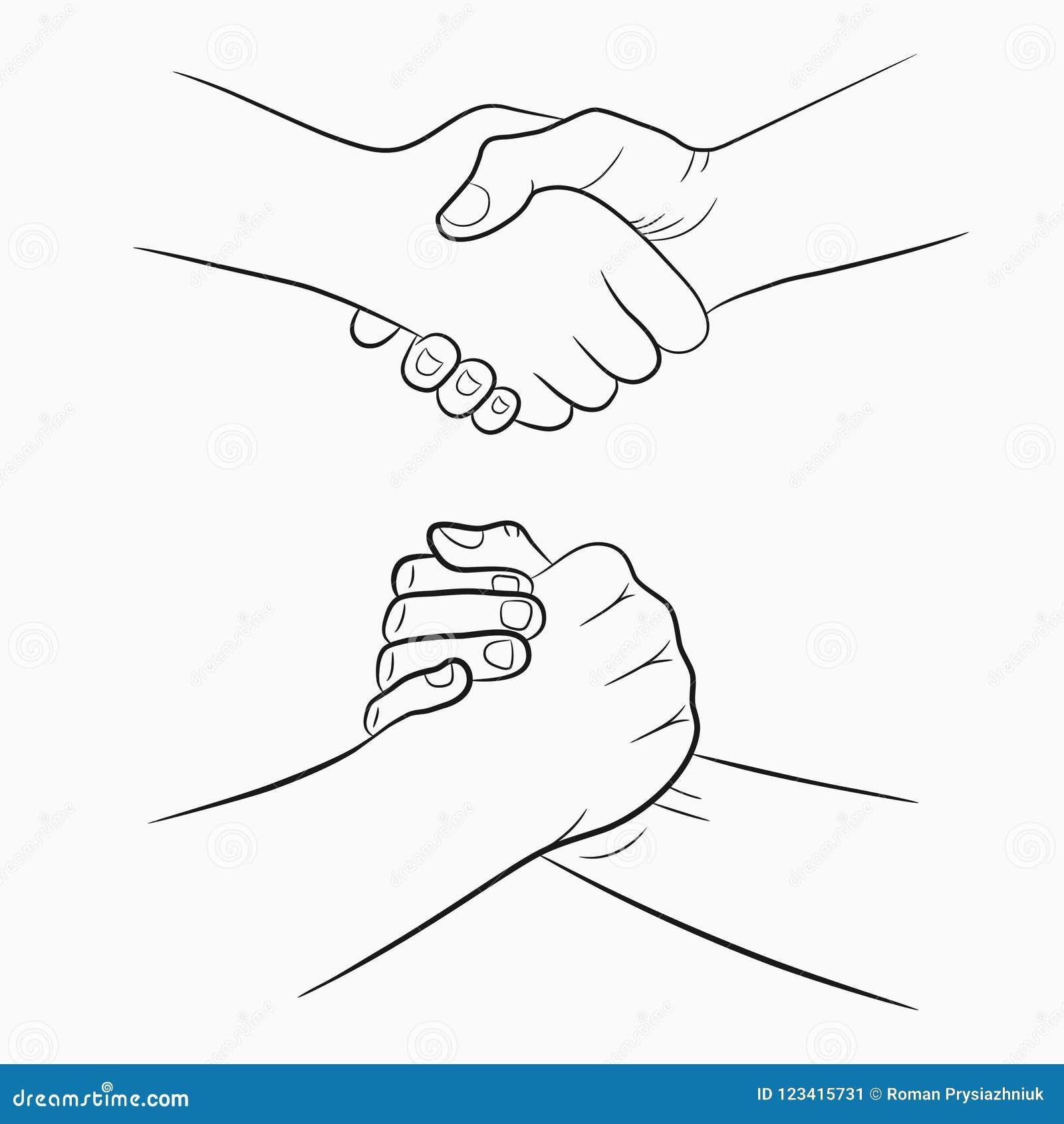 a95b57c8a5a Muestras a mano del apretón de manos fijadas El dibujo fraternal y amistoso  sacude las manos Ilustración del vector