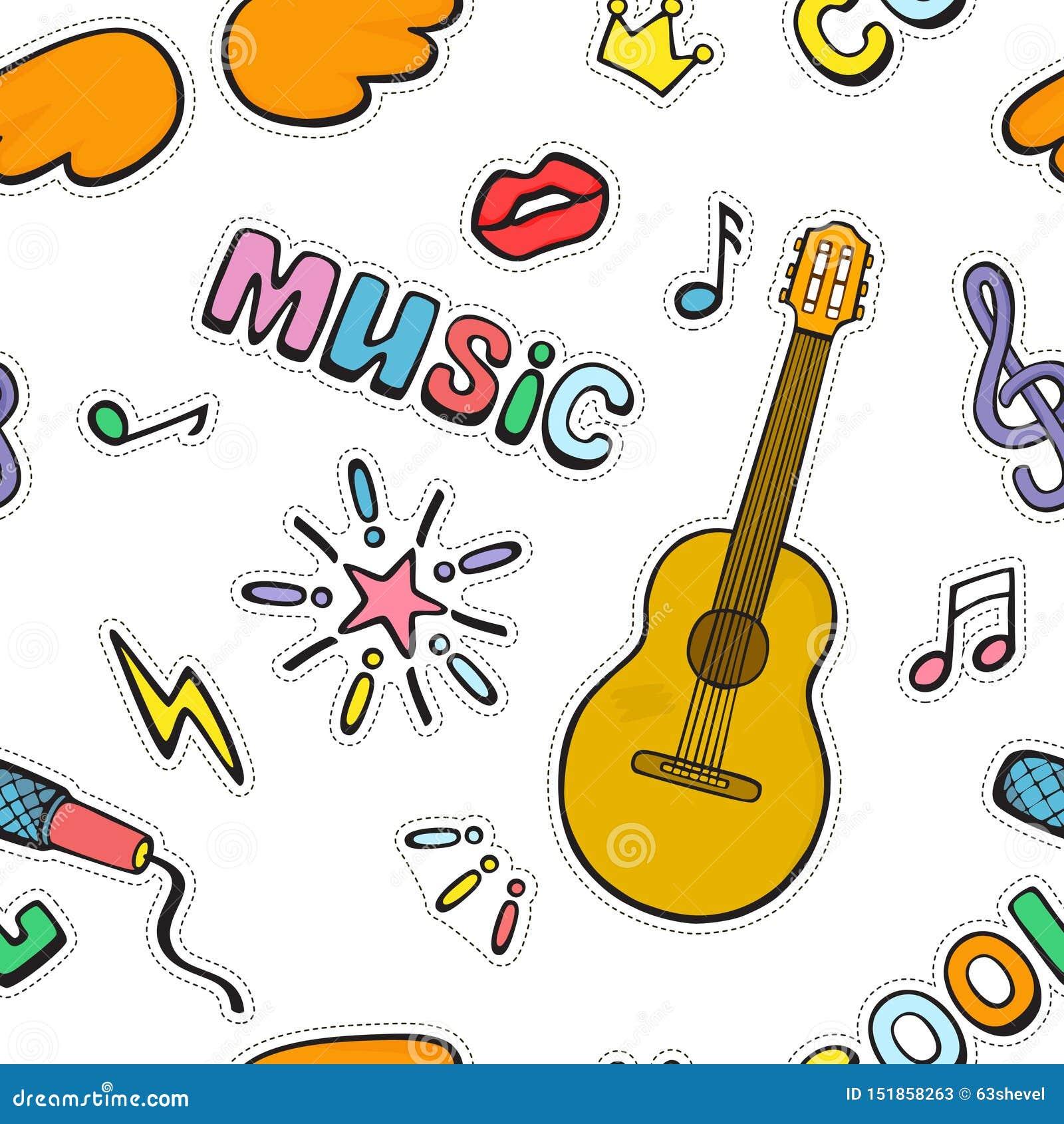 Muestras y símbolos de la música de la historieta Modelo incons?til del vector del color