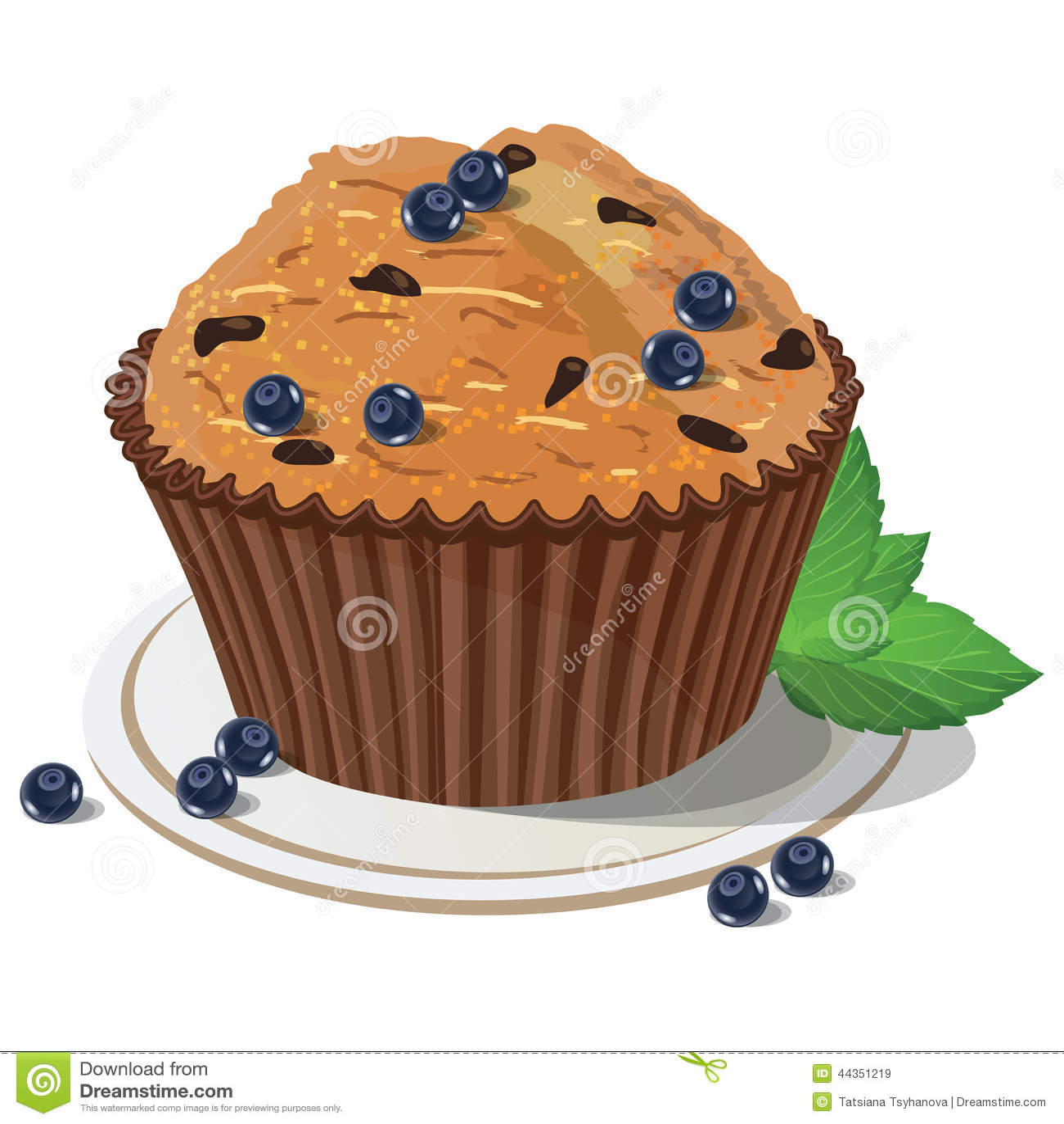 Muffin ai mirtilli di vettore Fondo isolato