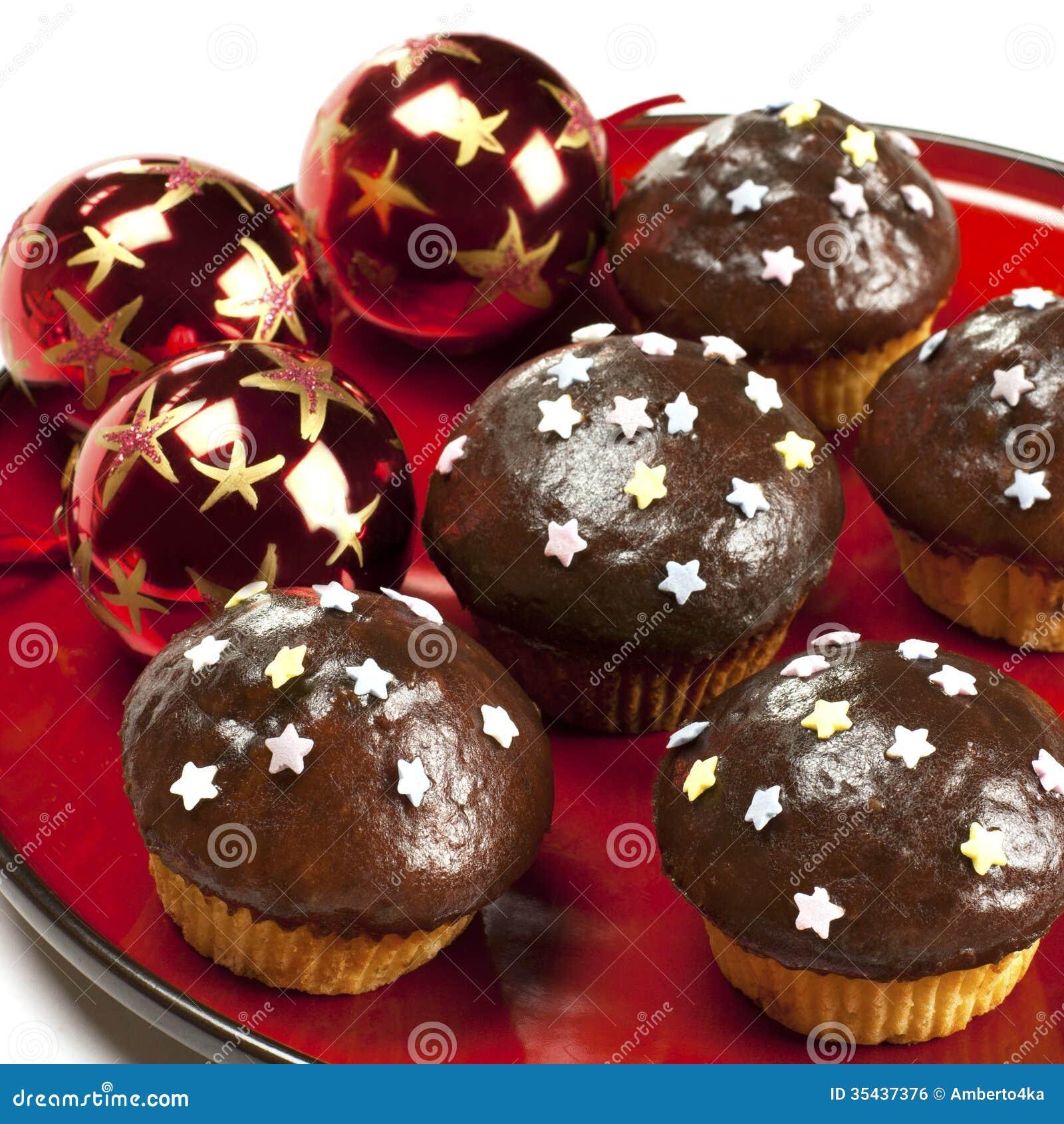 Muffin del cioccolato con le palle di natale immagine for Antifurto con le palle