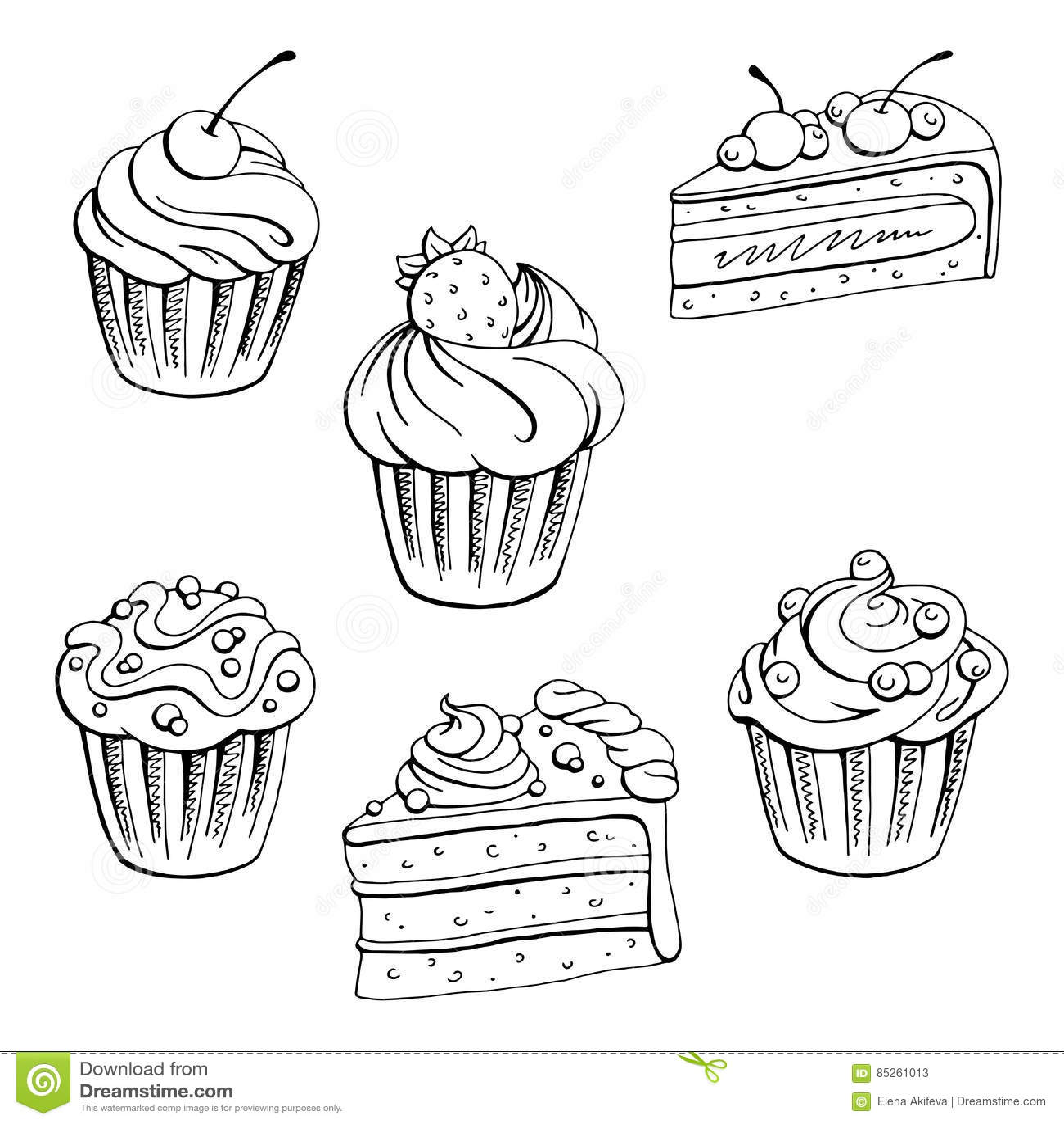 Muffin Dessert Graphic Black White Isolated Set Sketch ...