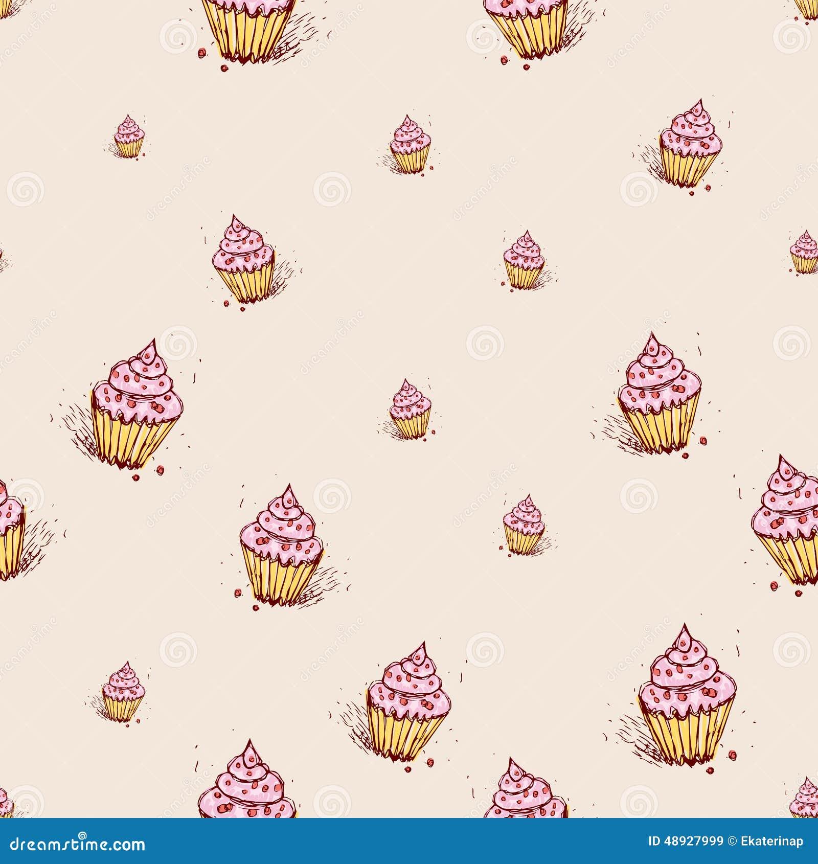 Muffin med den drog rosa färgkrämhanden skissar på rosa bakgrund seamless vektor för modell