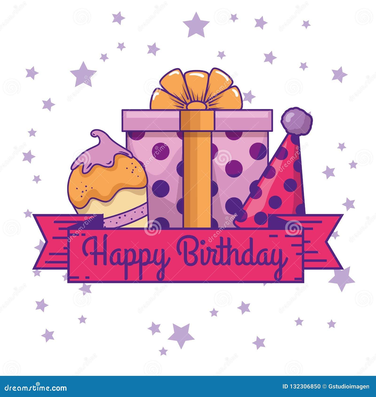 Muffin med gåva- och partihatten till födelsedagen