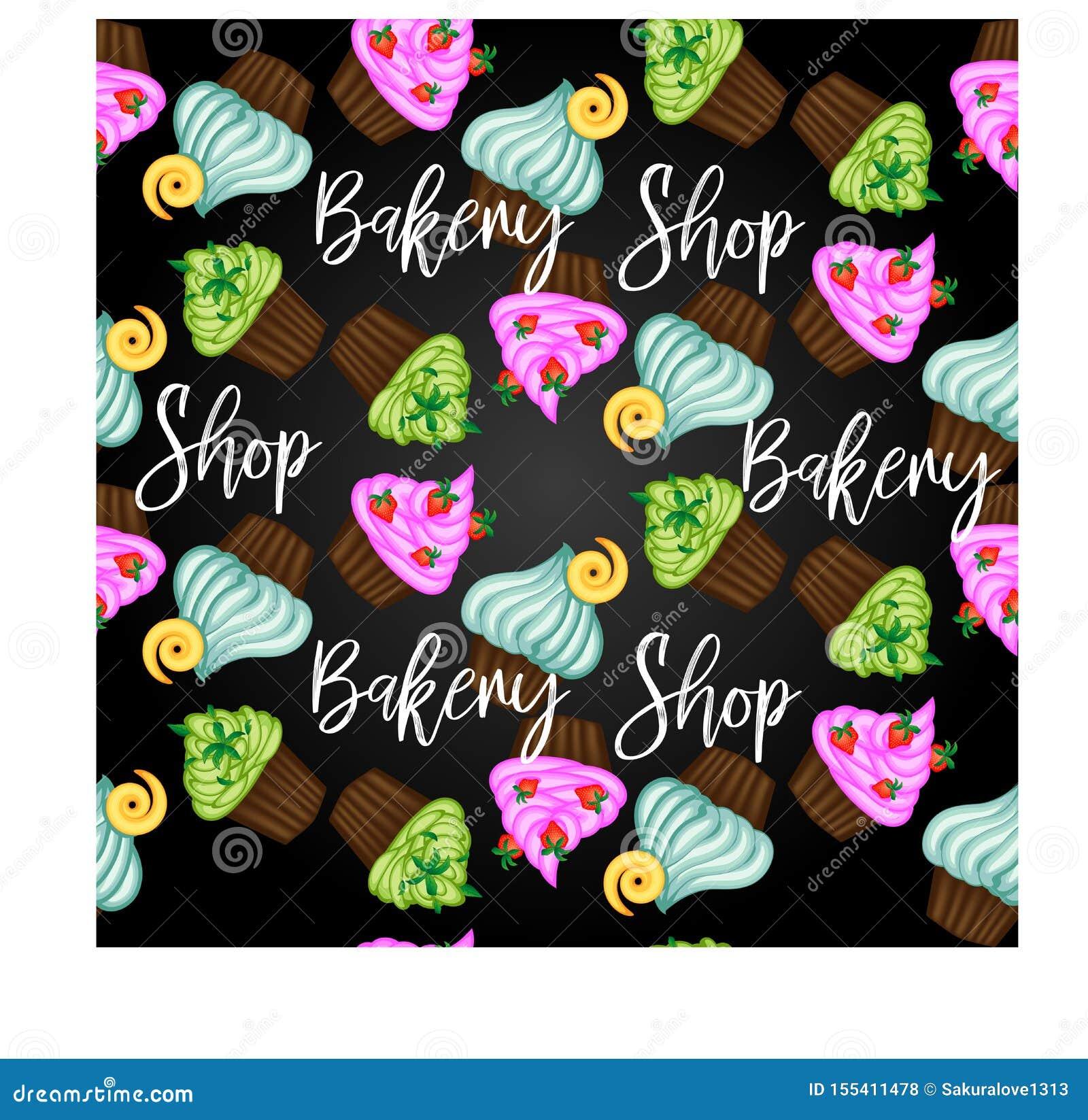 Muffin oder Kuchen mit Sahne und Kirsche Farbige flache Illustration lokalisiert auf weißem Hintergrund mit Weinleseaufschrift