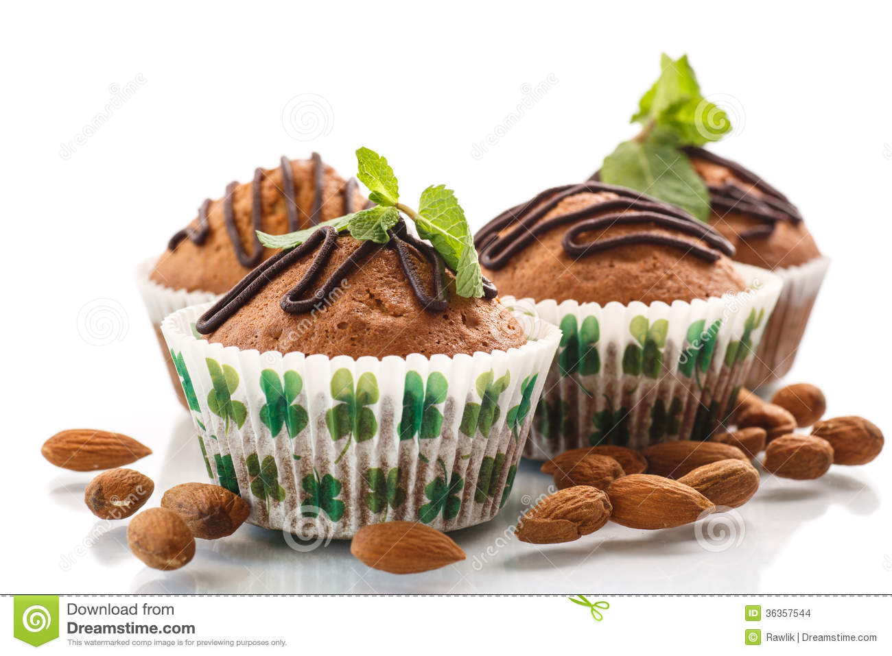 Decorated chocolate muffins