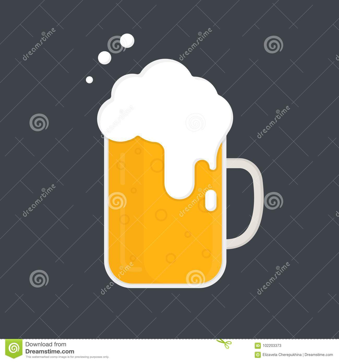Mug Of Beer. Beer Mug With A Lot Of Foam. Vector Icon. Flat Design ...