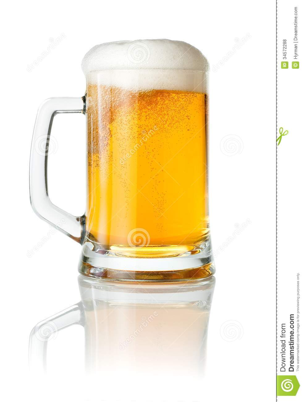 Mug Beer With Of Foam On White Background Royalty Free