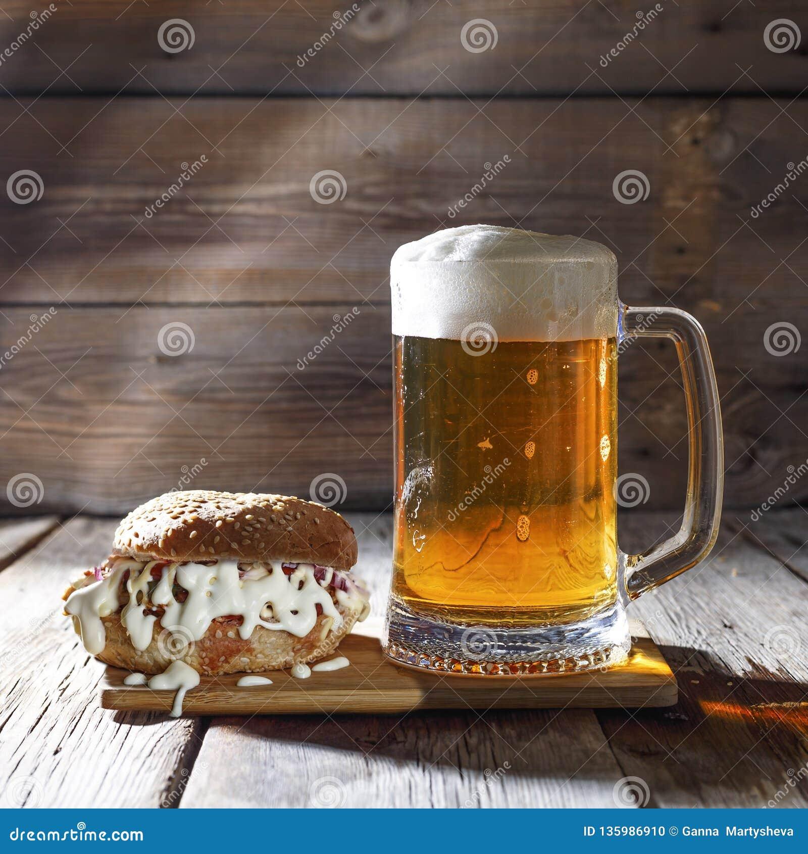 Mug Of Beer Tasty Burger Food Gourmet Meal Beer Meat Cheese Stock Photo Image Of Beer Food 135986910
