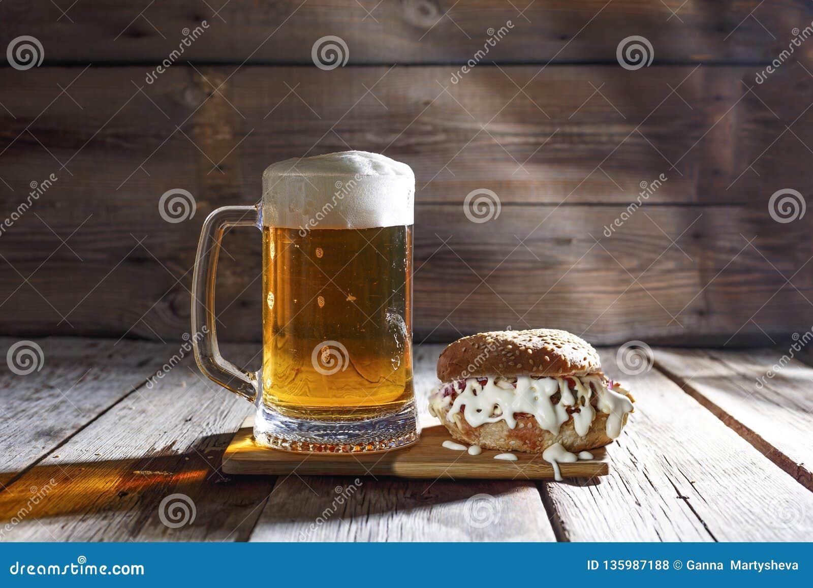 Mug Of Beer Tasty Burger Food Gourmet Meal Beer Meat Cheese Stock Photo Image Of Cuisine Beer 135987188