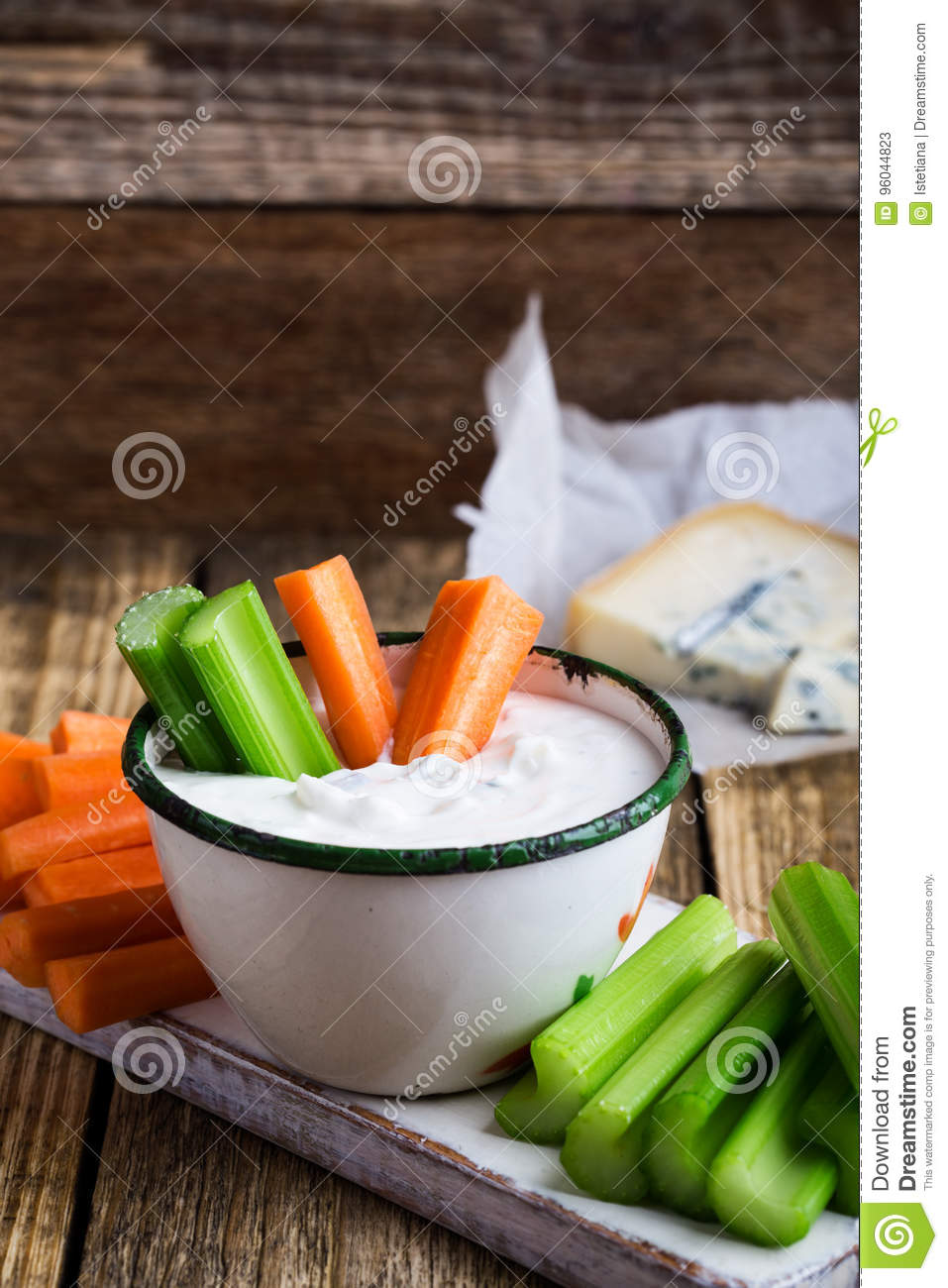 Mug Of Blue Cheese Garlic Dip Sauce With Celery And Carrot Stick Stock Image Image Of Dairy Dressing 96044823