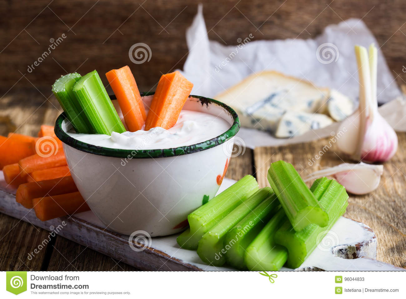 Mug Of Blue Cheese Garlic Dip Sauce With Celery And Carrot Stick Stock Image Image Of Blue Appetizer 96044833
