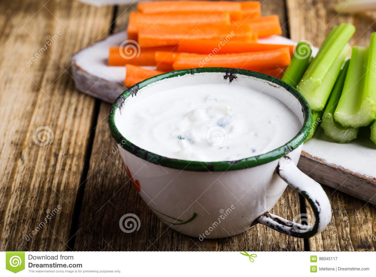 Mug Of Blue Cheese Garlic Dip Sauce With Celery And Carrot Stick Stock Image Image Of Delicious Gorgonzola 96045117