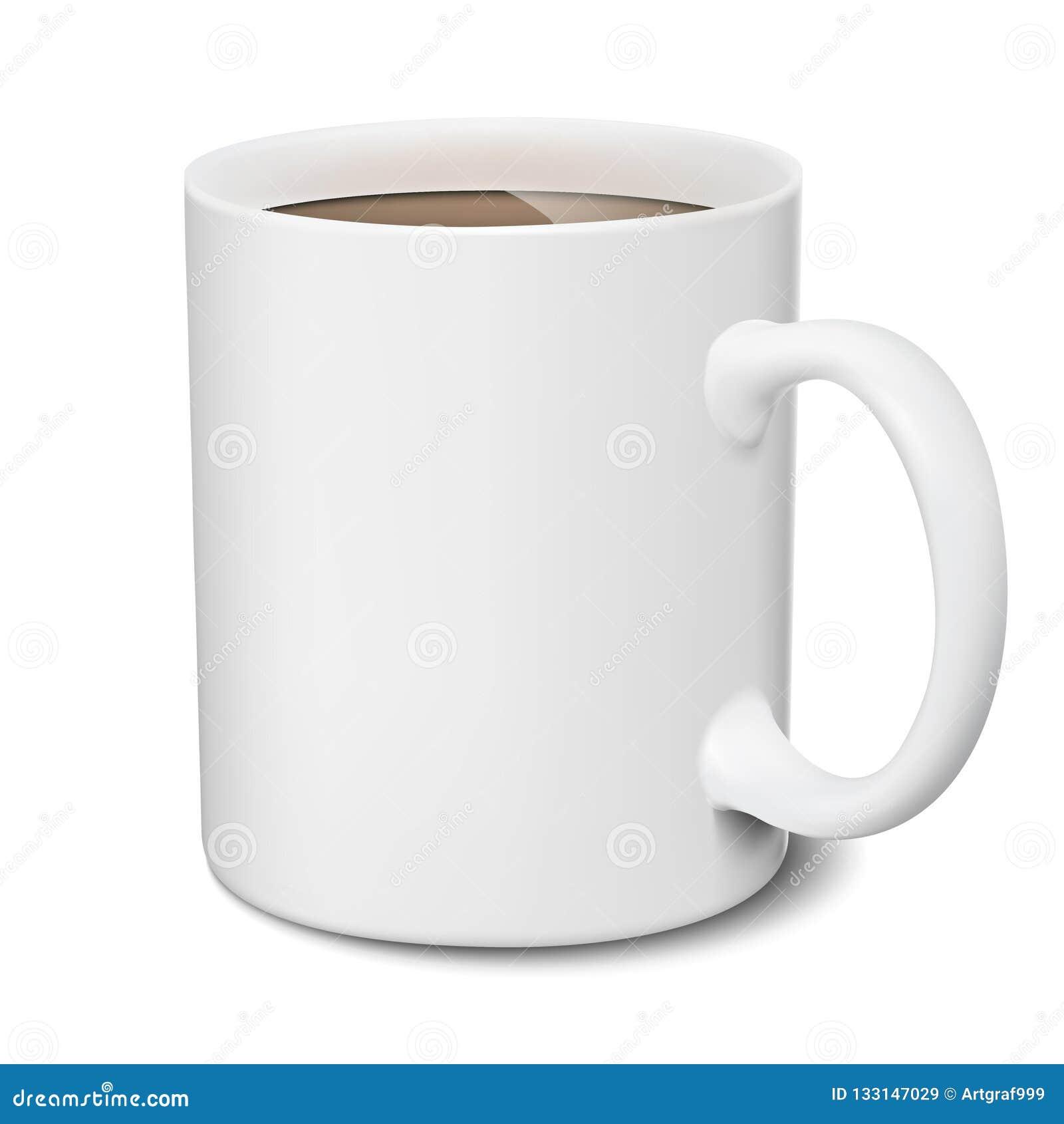 Mug Of Cocoa. White Mug Realistic Isolated 3D Mockup On