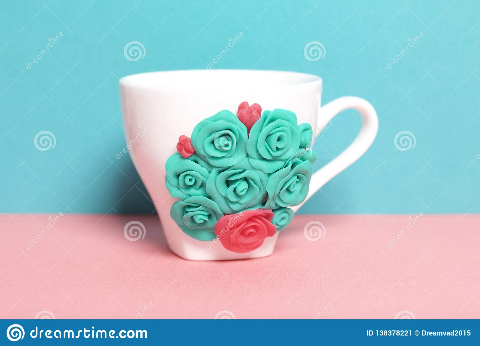 Mug Decorated With Flowers Made Of Polymer Clay Stock Image Image Of Sculpting Elements 138378221