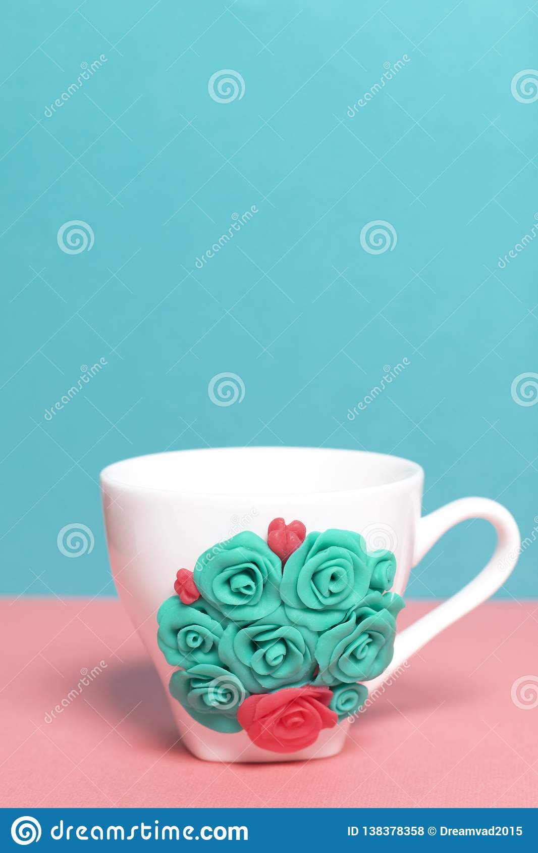 Mug Decorated With Flowers Made Of Polymer Clay Stock Photo Image Of Handicraft Craft 138378358