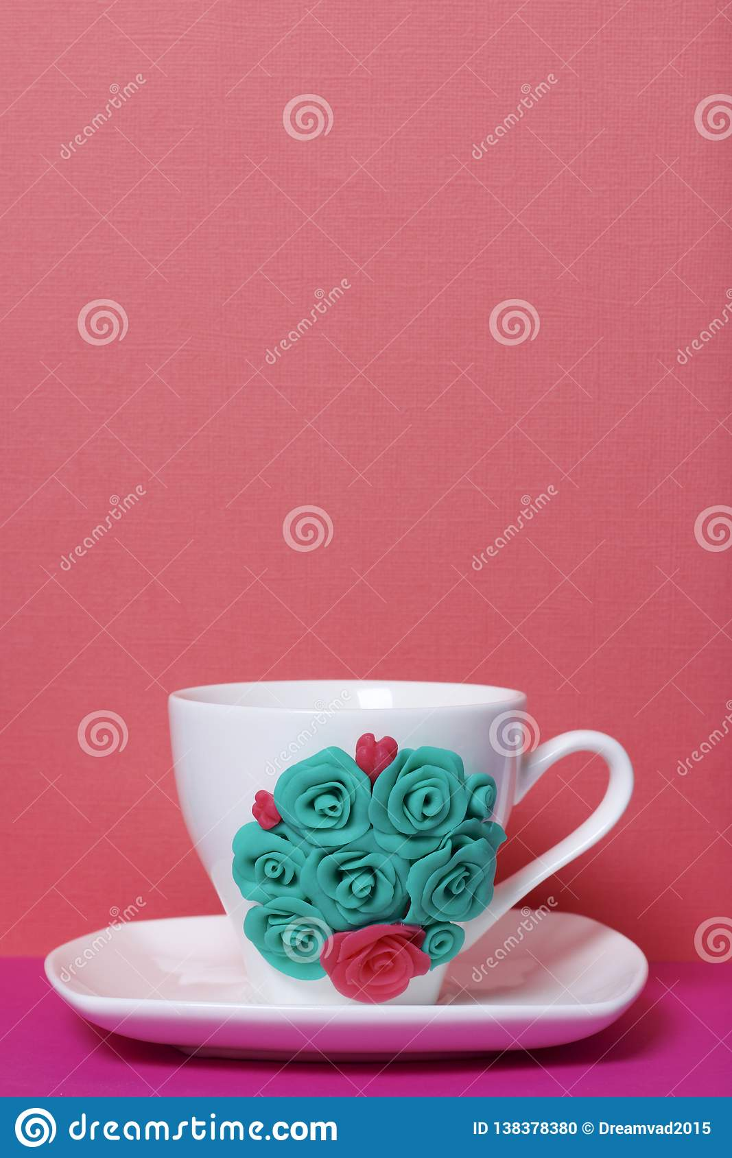 Mug Decorated With Flowers Made Of Polymer Clay Stock Photo Image Of Handmade Skill 138378380