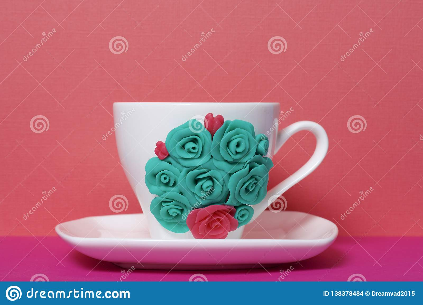 Mug Decorated With Flowers Made Of Polymer Clay Stock Photo Image Of Polymer Stucco 138378484