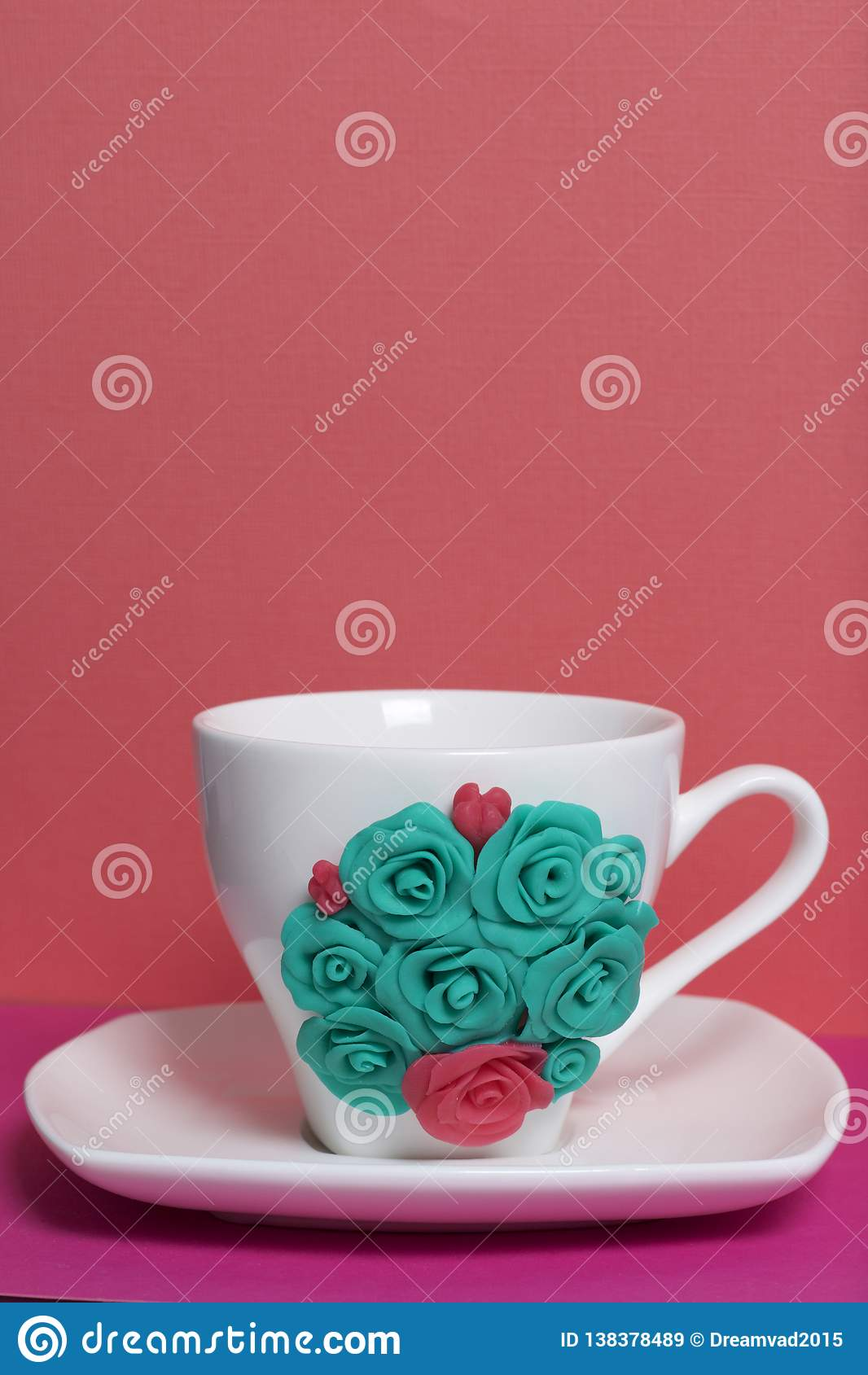 Mug Decorated With Flowers Made Of Polymer Clay Stock Image Image Of Flowers Sculpting 138378489