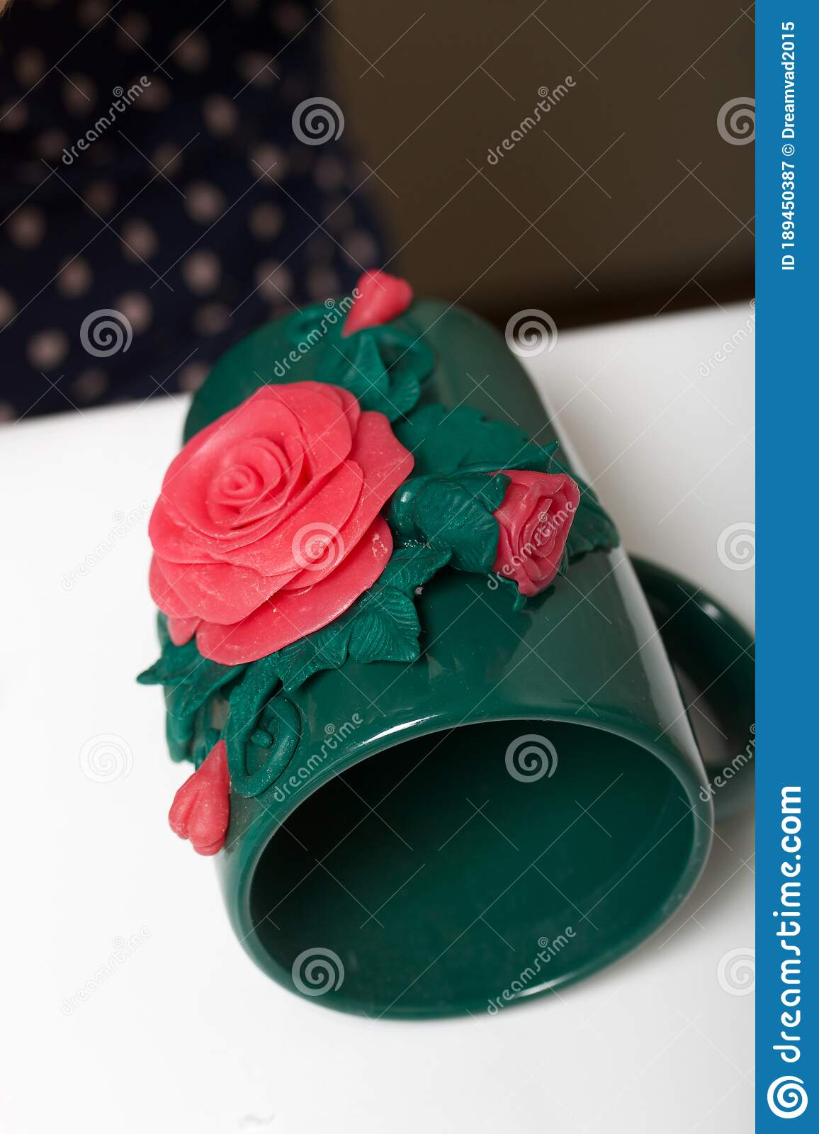 Mug Decorated With Polymer Clay Roses Crafts From Polymer Clay Stock Image Image Of Abstract Decoration 189450387