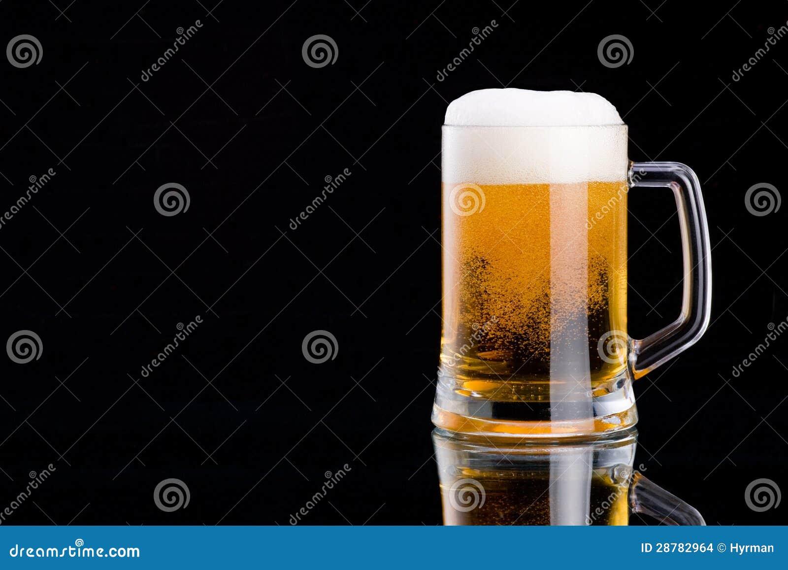 Beer Mug On Black Stock Photo