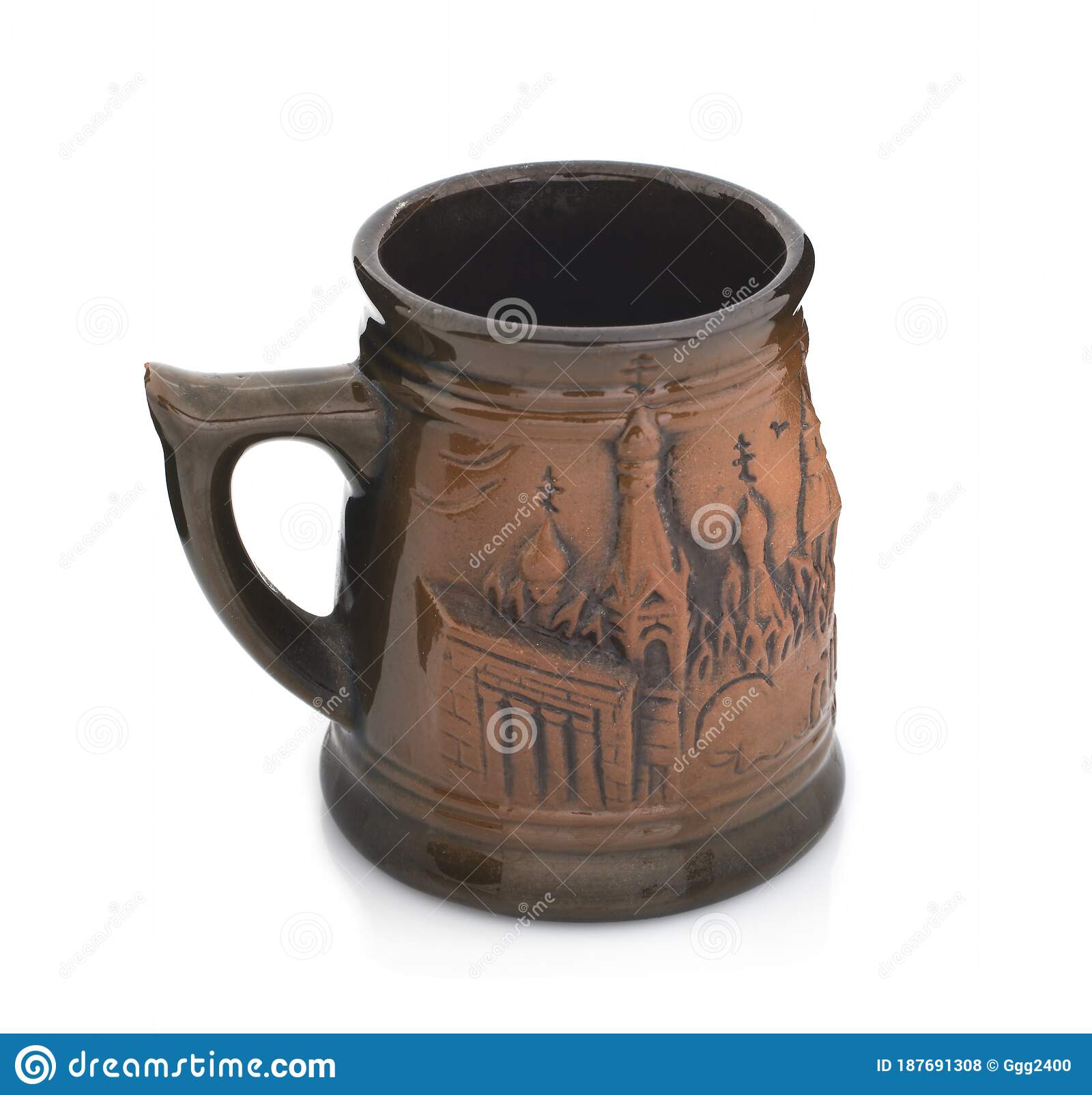 Mug With A Handle Of Red Clay On A White Background Stock Photo Image Of Bright Blank 187691308